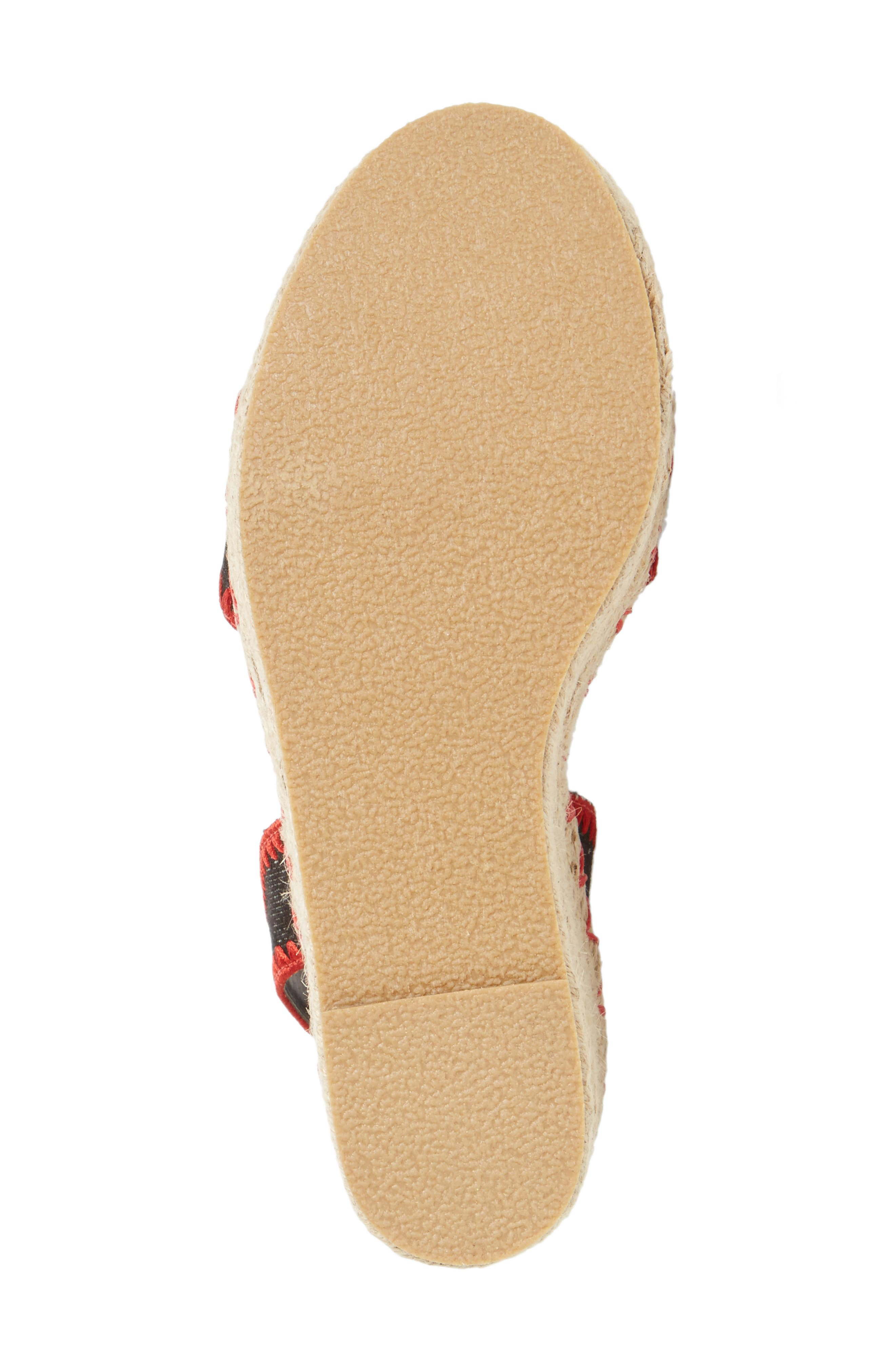 Coconuts by Matisse Frenchie Wedge Sandal,                             Alternate thumbnail 4, color,                             Black Fabric