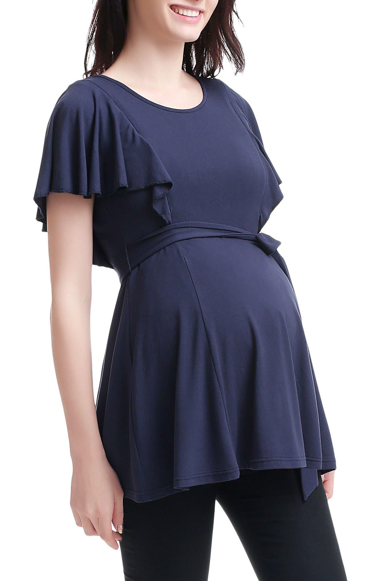 Nyssa Belted Maternity/Nursing Top,                         Main,                         color, Navy