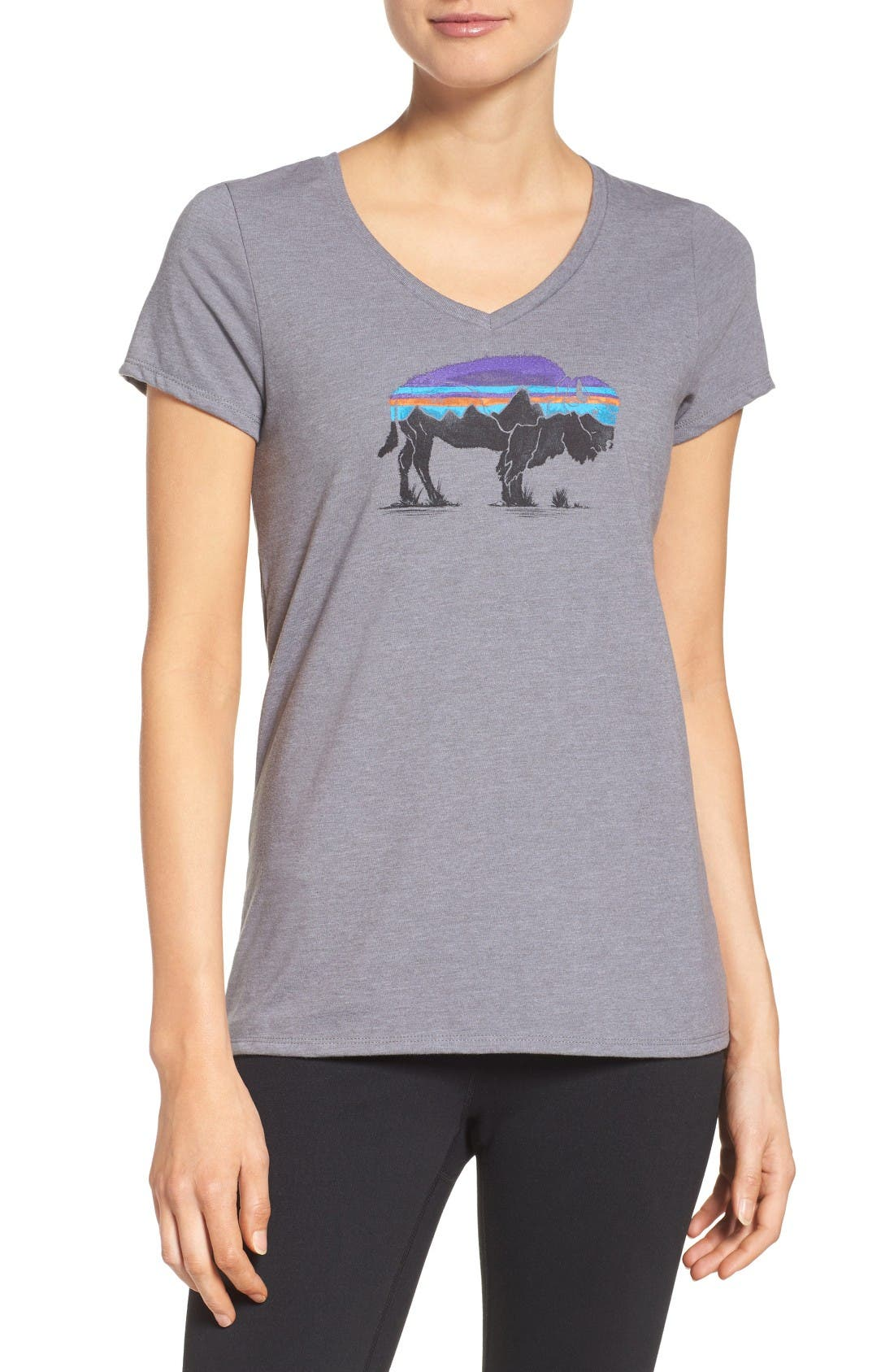 Patgonia Fitz Roy Bison Tee,                             Main thumbnail 1, color,                             Narwhal Grey