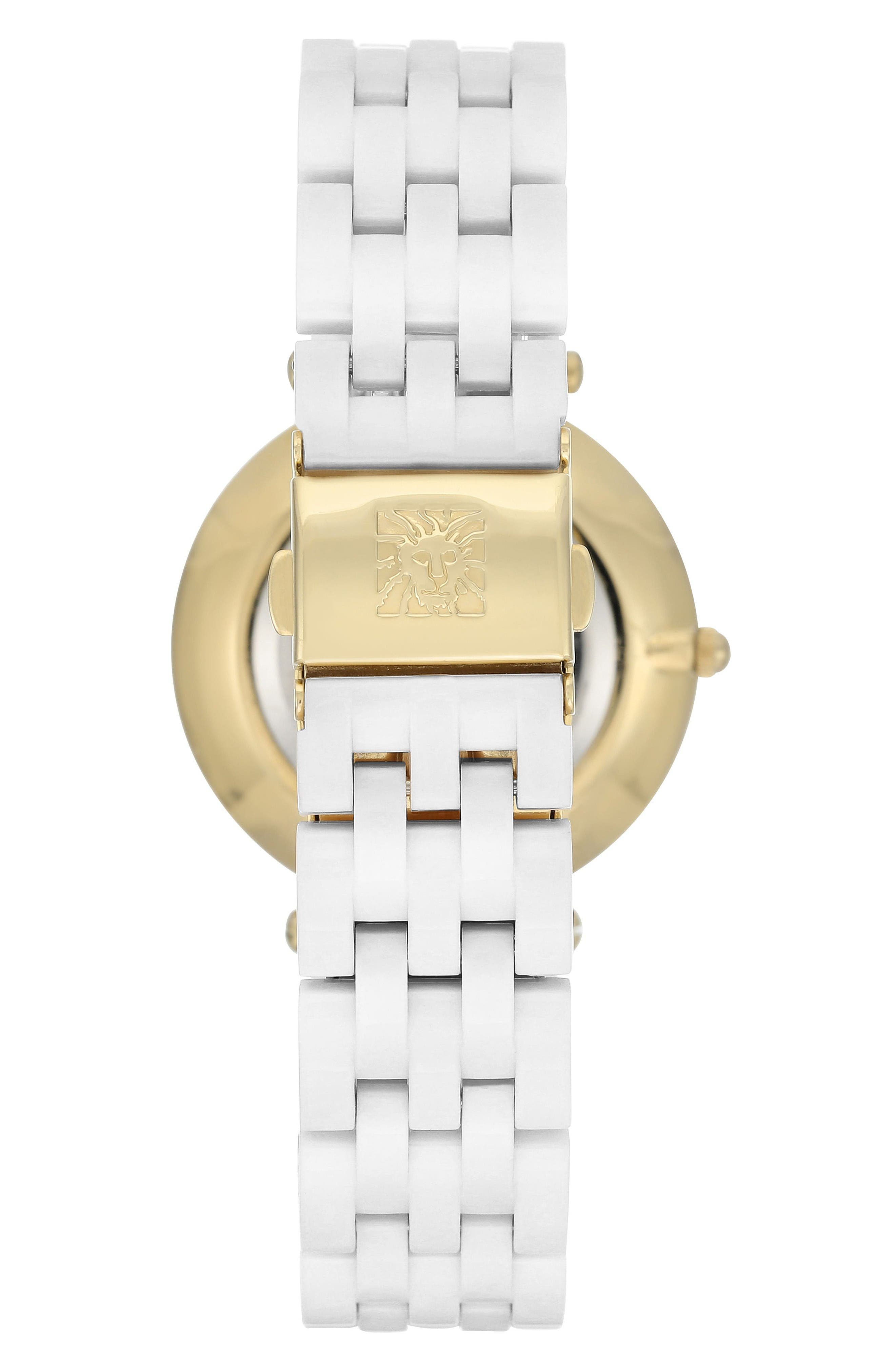 Bracelet Watch, 34mm,                             Alternate thumbnail 2, color,                             White/ Gold