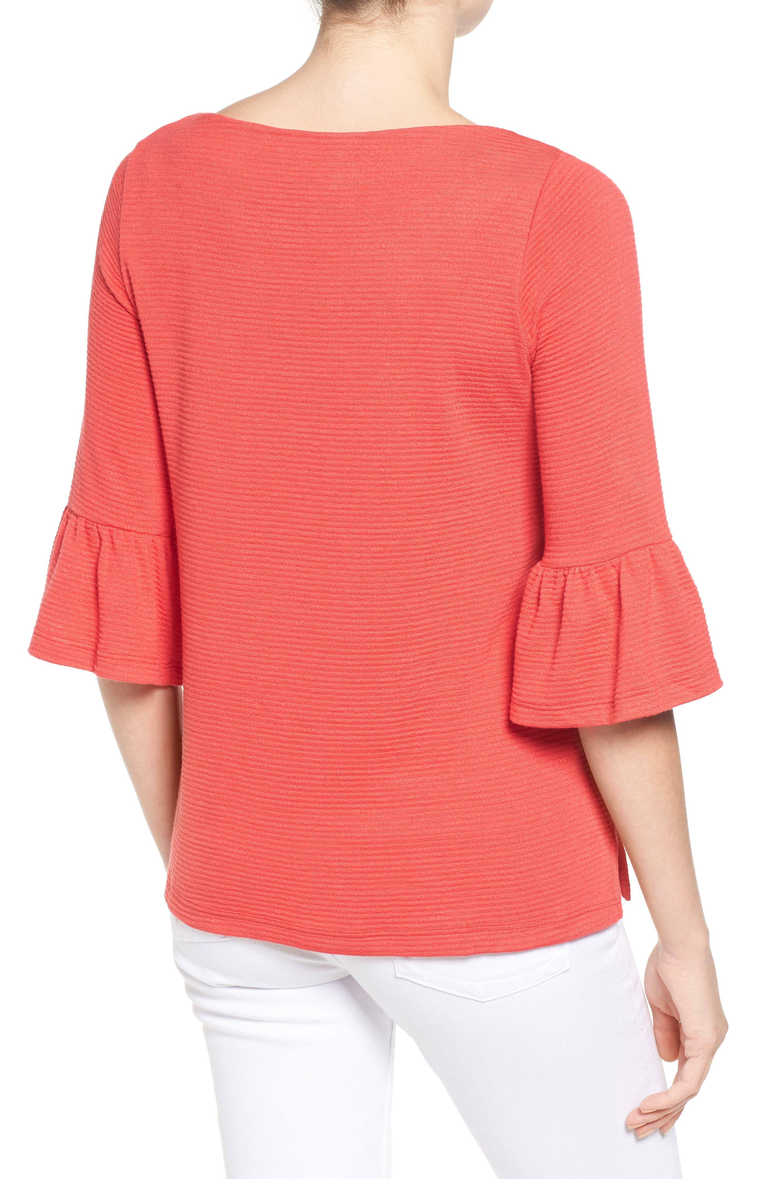 Alternate Image 2  - Pleione Stripe Knit Bell Sleeve Top (Regular & Petite)