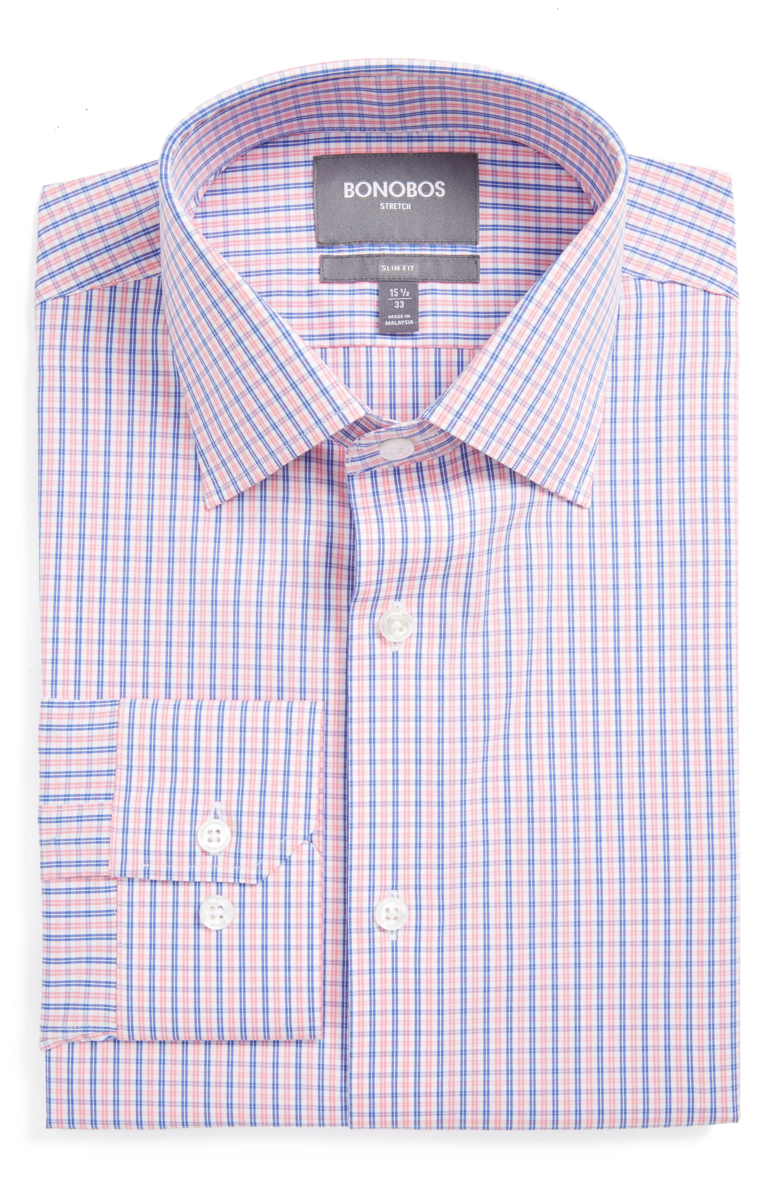 Jetsetter Slim Fit Check Stretch Dress Shirt,                         Main,                         color, Pink Wright