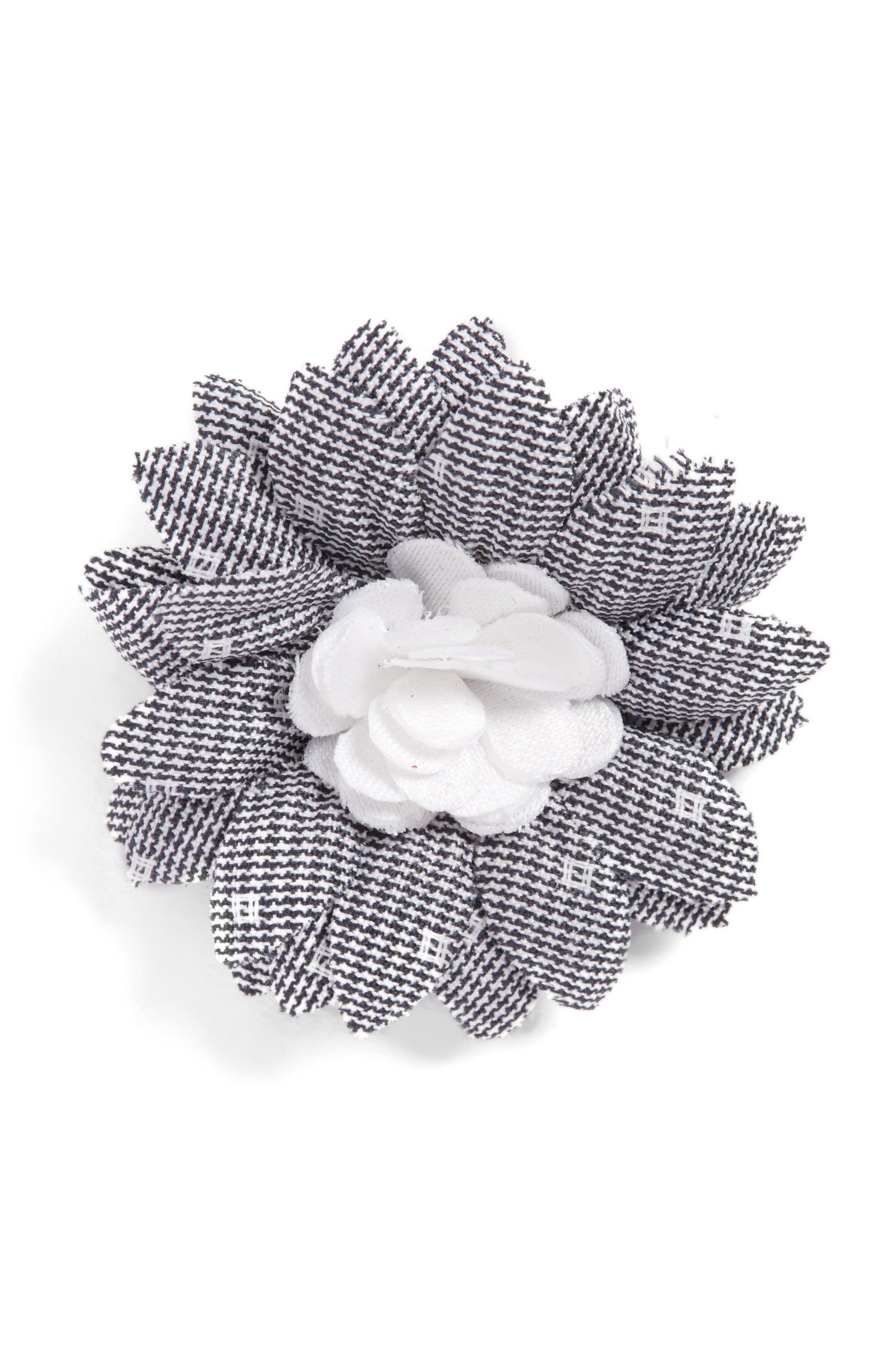 Lapel Flower,                         Main,                         color, Gray / White