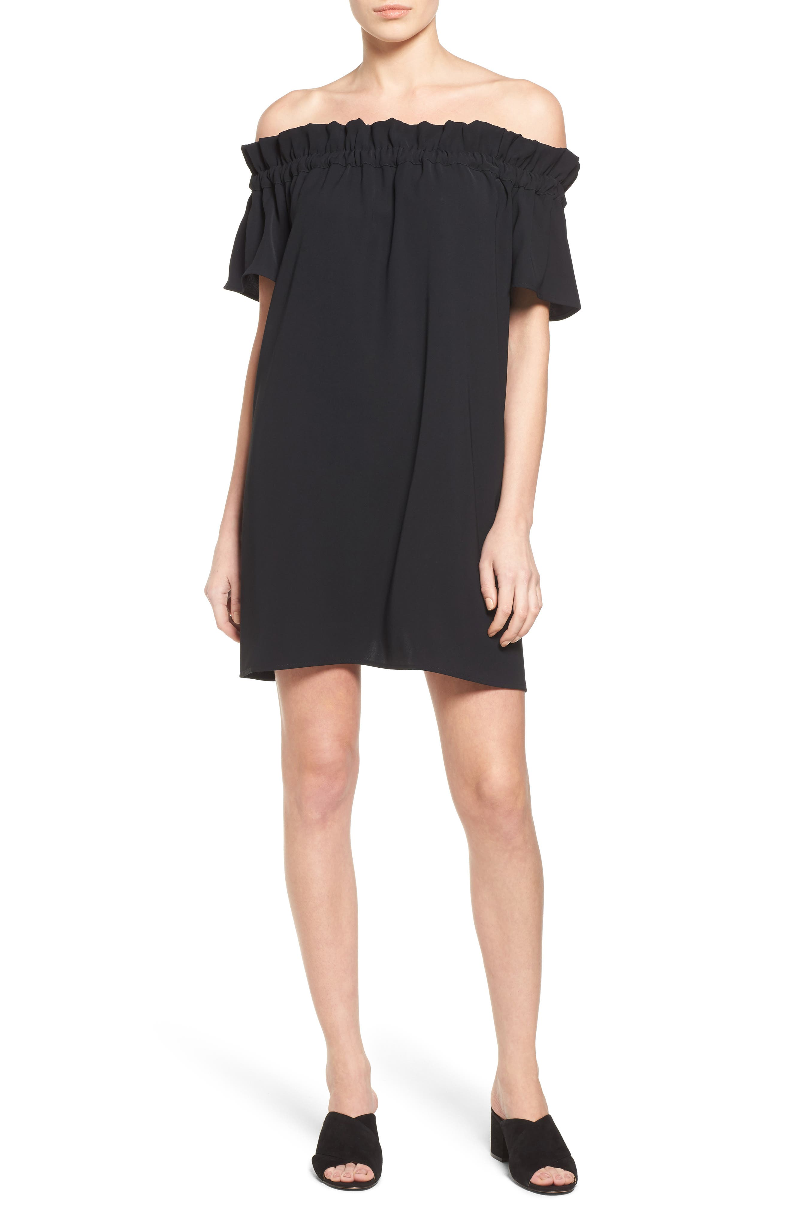 Off the Shoulder Dress,                             Main thumbnail 1, color,                             Black