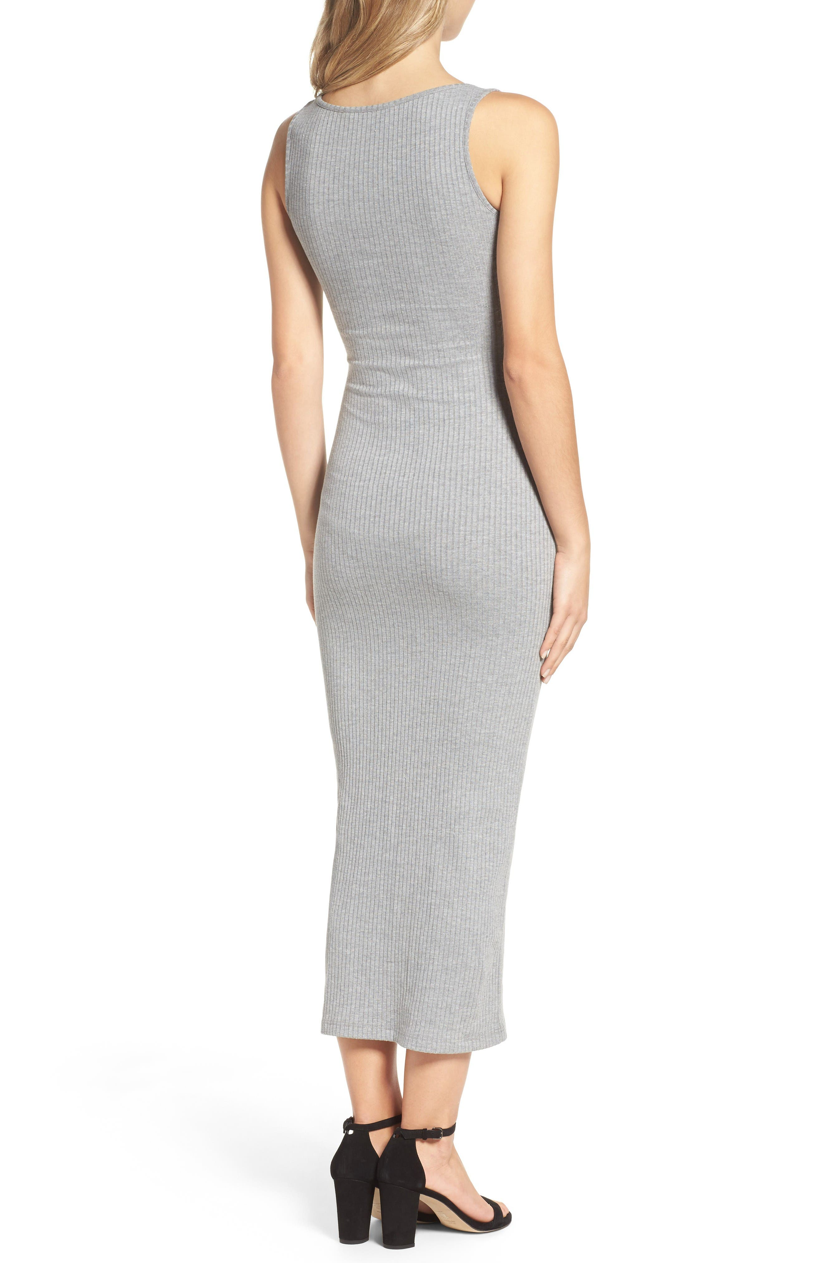 Tommy Lace-Up Midi Dress,                             Alternate thumbnail 2, color,                             Light Grey