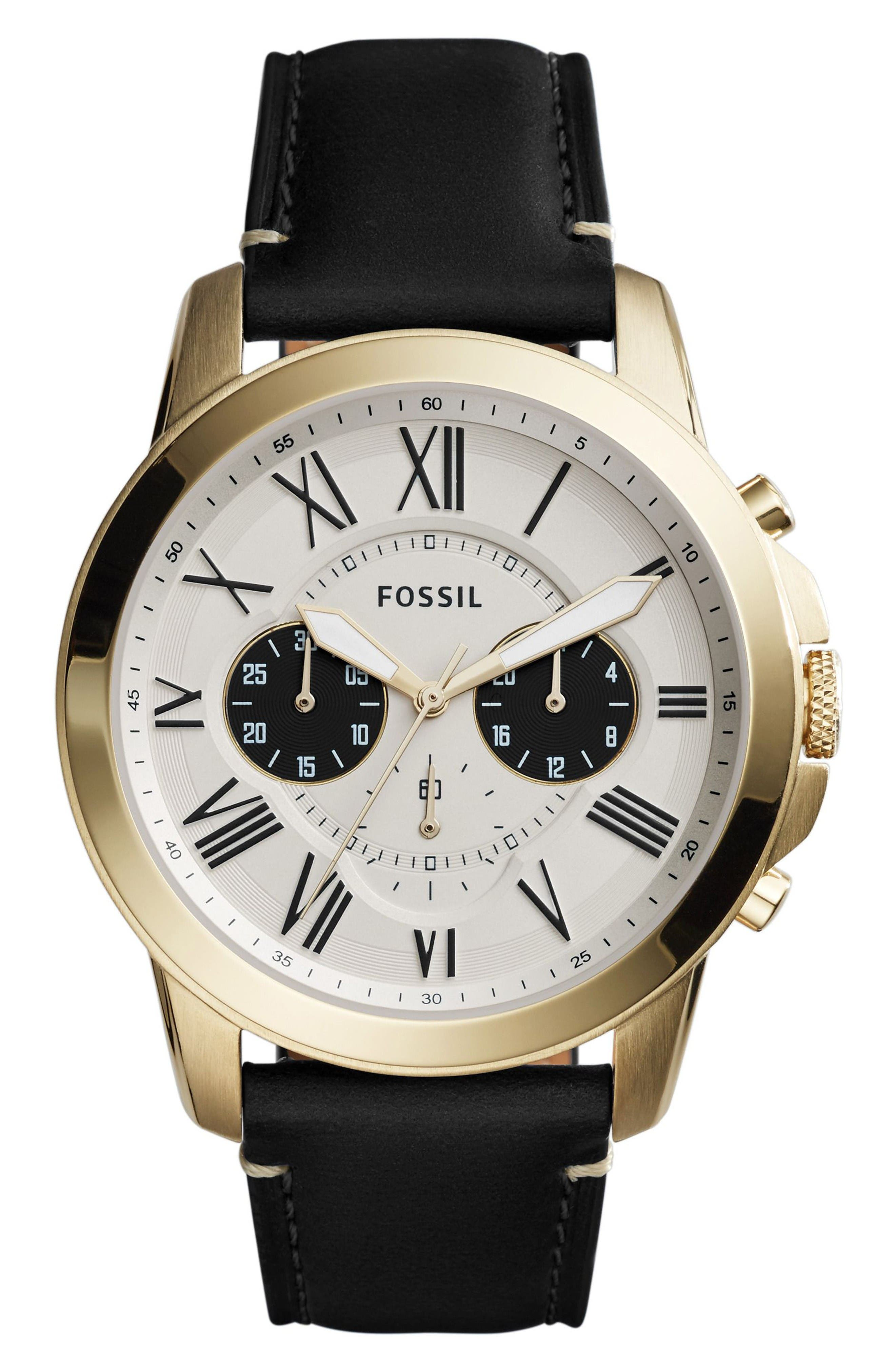 Grant Chronograph Leather Strap Watch, 44mm,                         Main,                         color, Black/ Gold