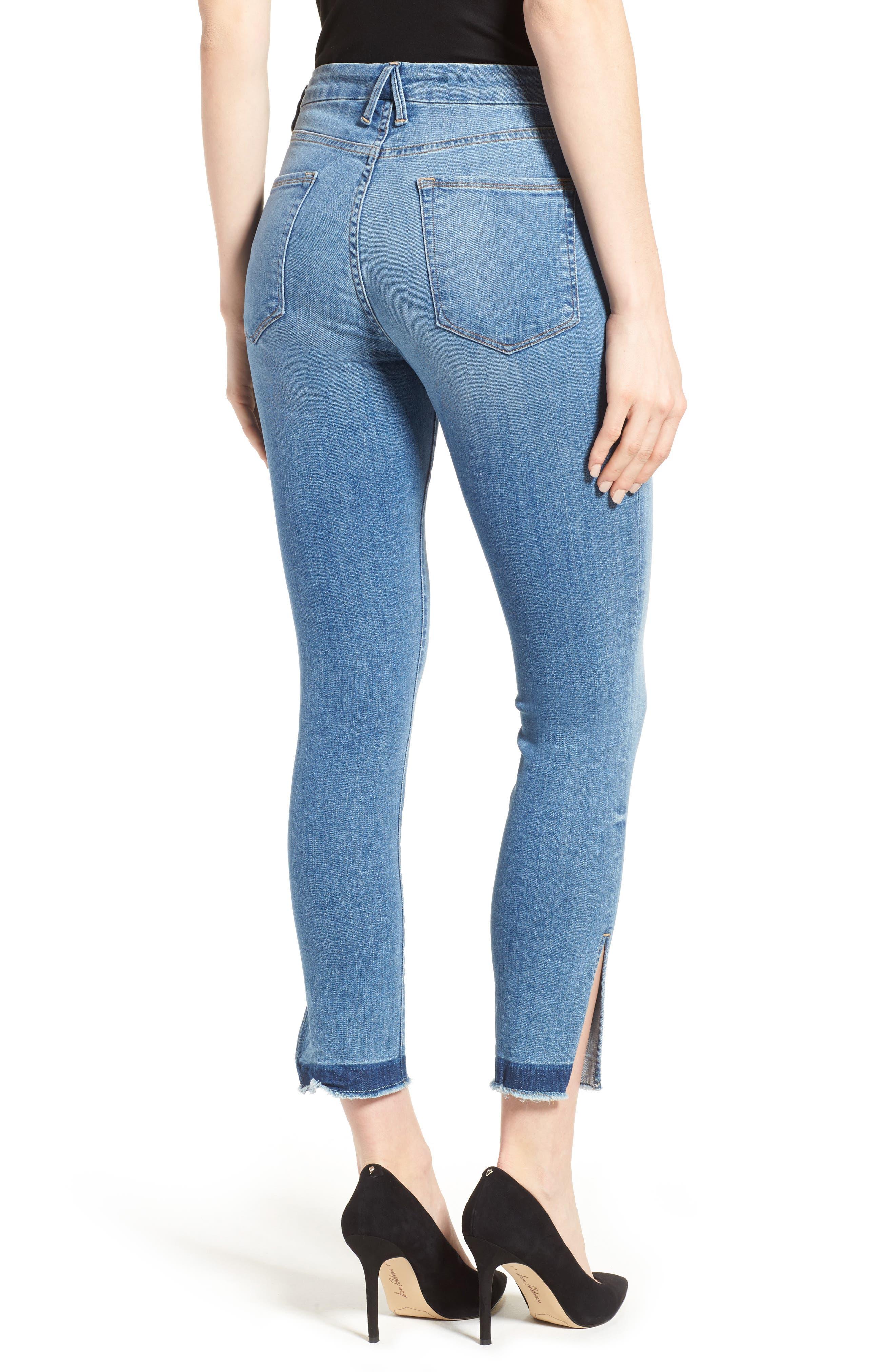 Alternate Image 2  - Good American Good Legs High Rise Split Hem Crop Skinny Jeans (Blue 024) (Regular & Plus Size)