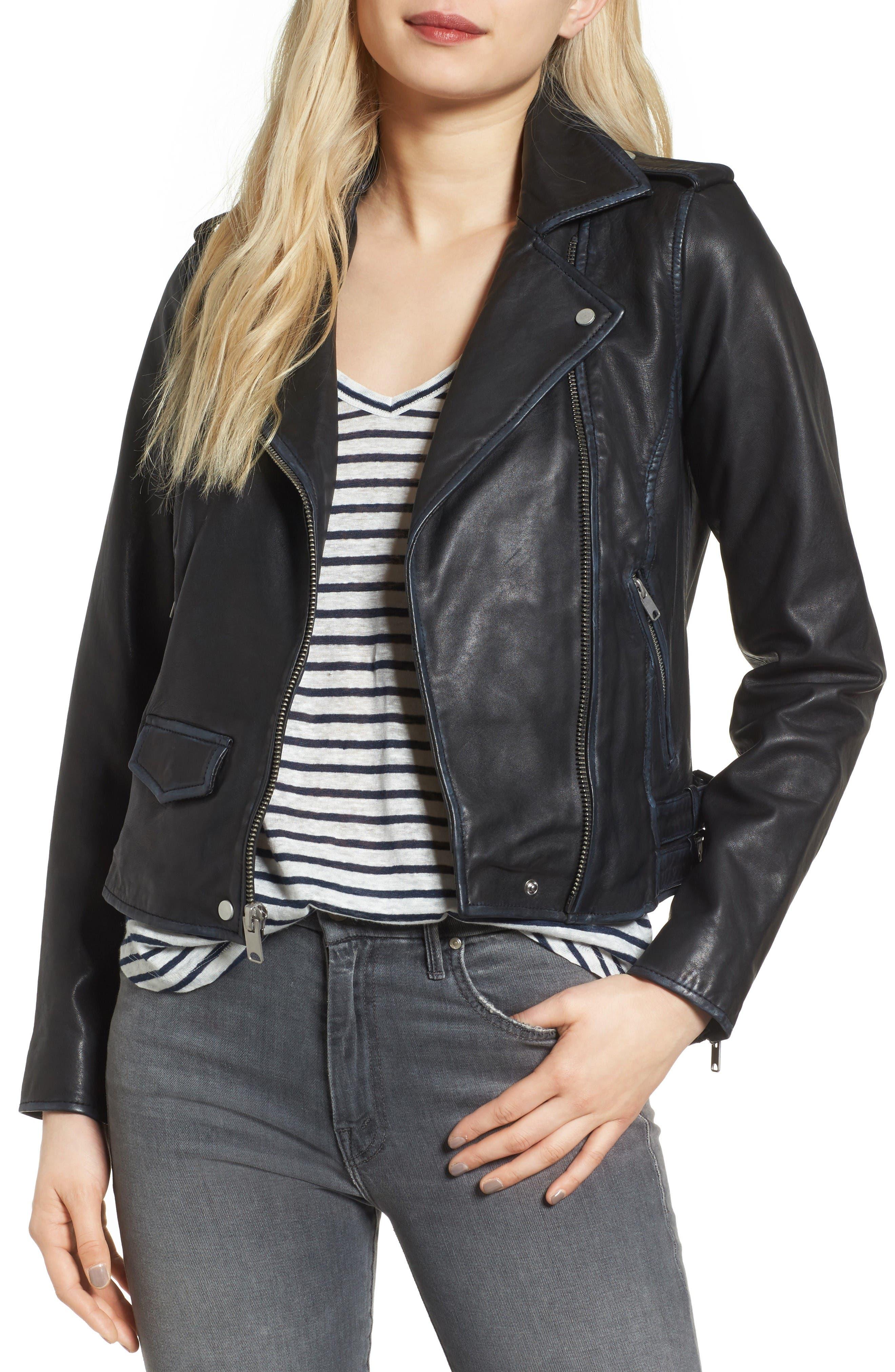 Whitney Washed Leather Crop Jacket,                             Main thumbnail 1, color,                             Black