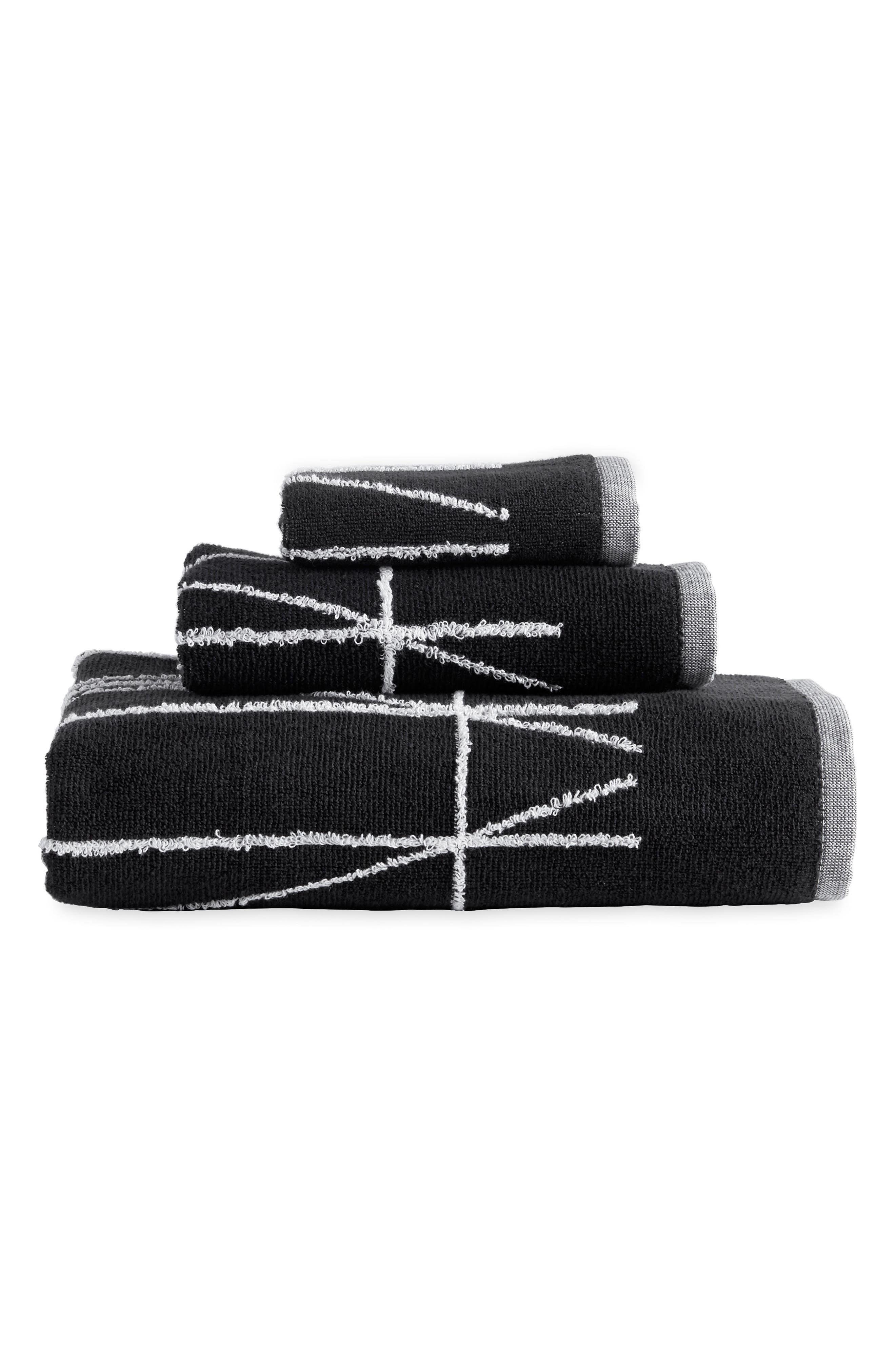 Geometrix Fingertip Towel,                             Alternate thumbnail 2, color,                             White/ Black