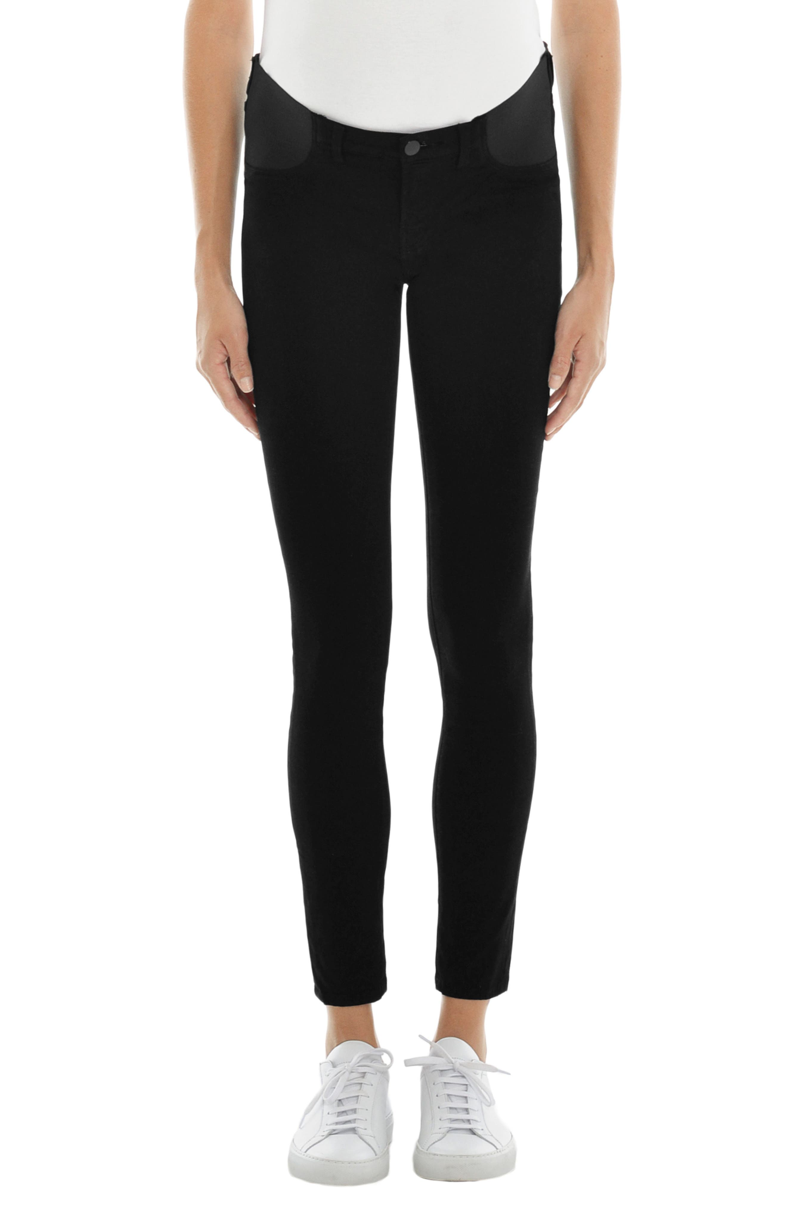 Mama J Luxe Sateen Maternity Skinny Jeans,                             Main thumbnail 1, color,                             Black