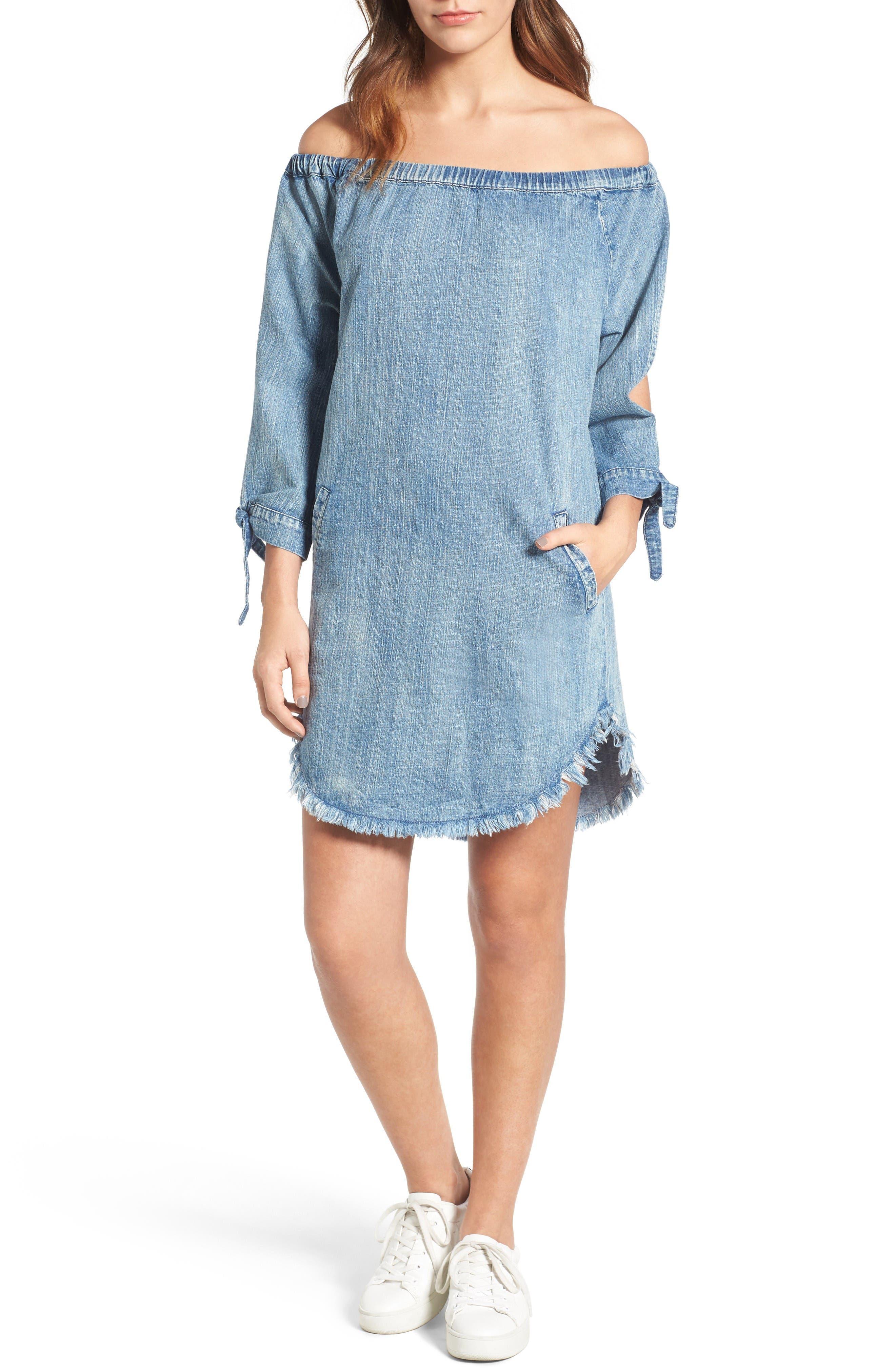 Main Image - BILLY T Slit Sleeve Denim Dress