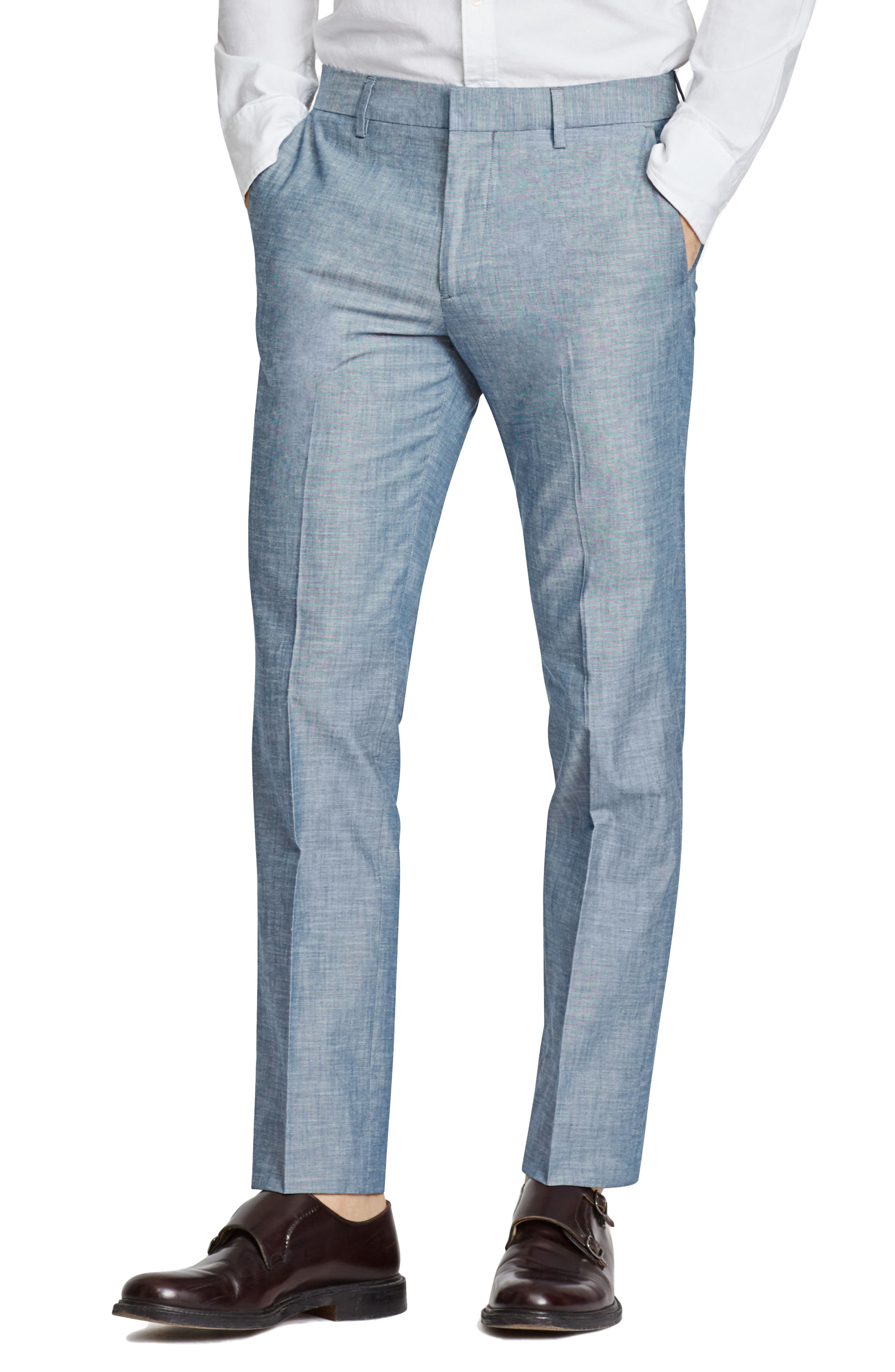Flat Front Solid Cotton Trousers,                         Main,                         color, Solid Blue
