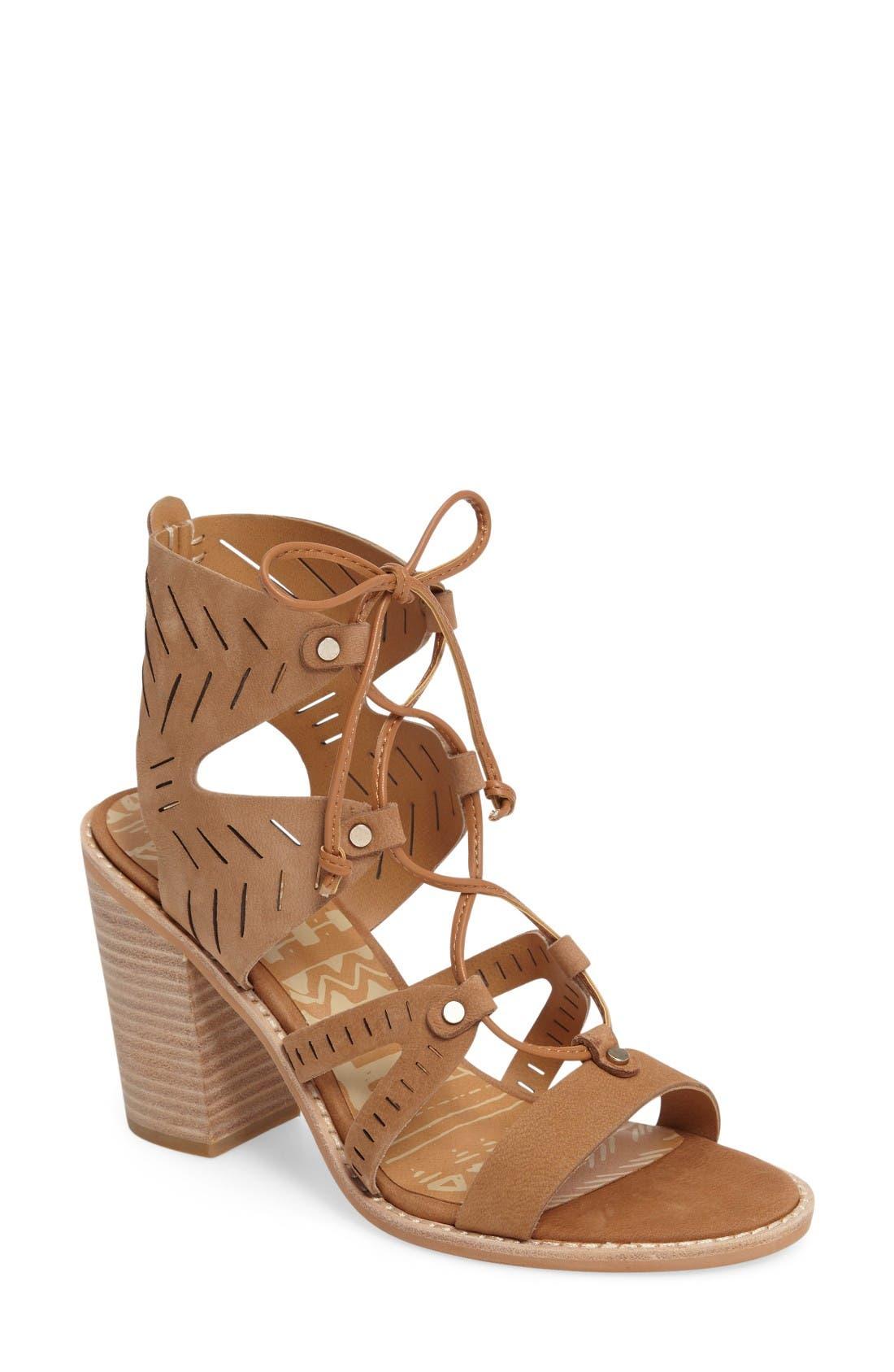 Luci Ghillie Lace Sandal,                         Main,                         color, Saddle Nubuck Leather
