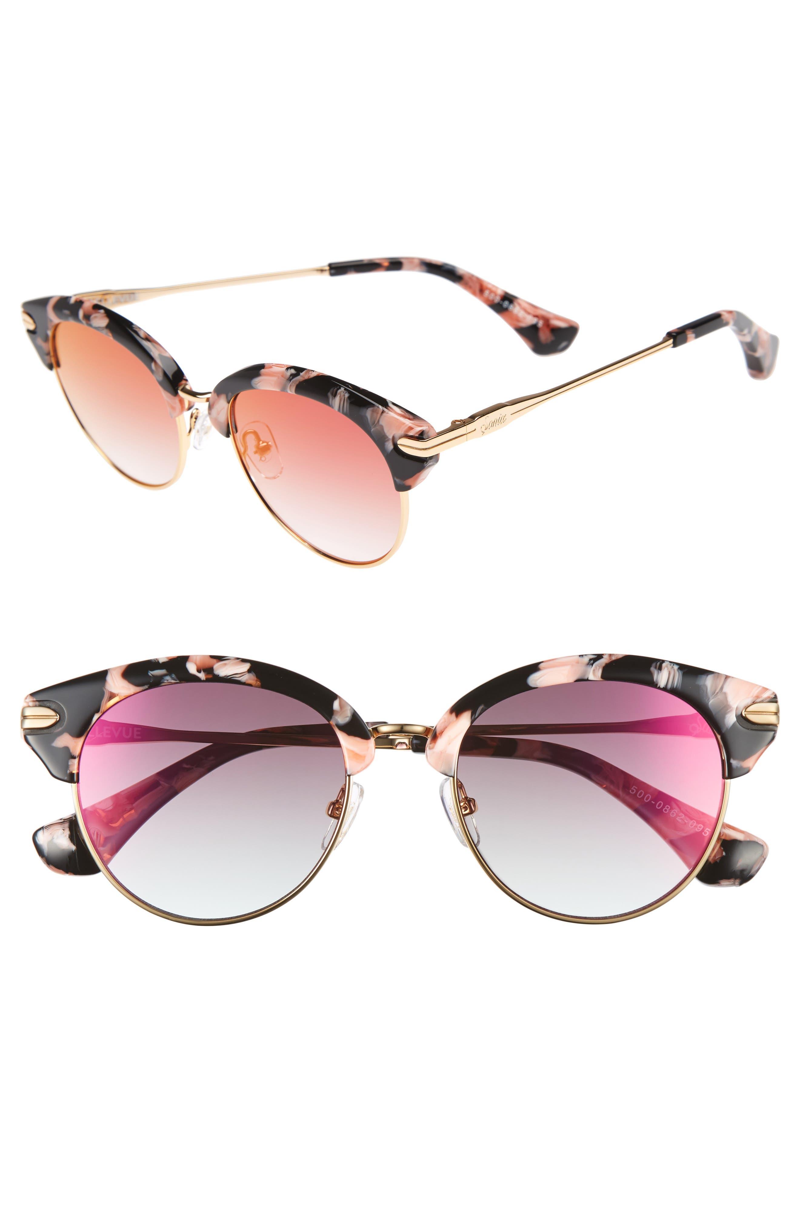 Bellevue 50mm Mirrored Sunglasses,                         Main,                         color, Rose Tort/ Magenta Mirror