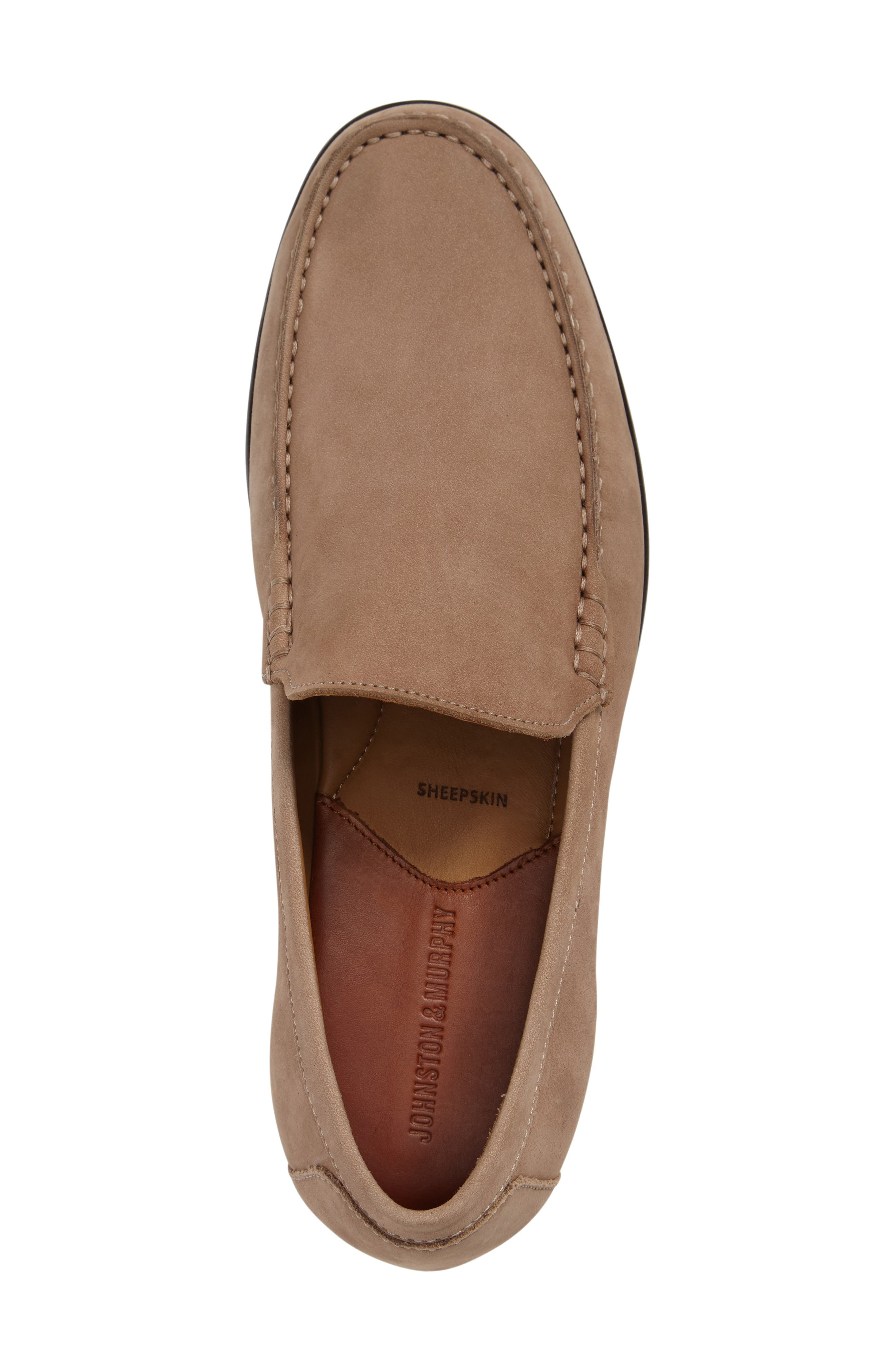 Cresswell Venetian Loafer,                             Alternate thumbnail 3, color,                             Sand Nubuck Leather