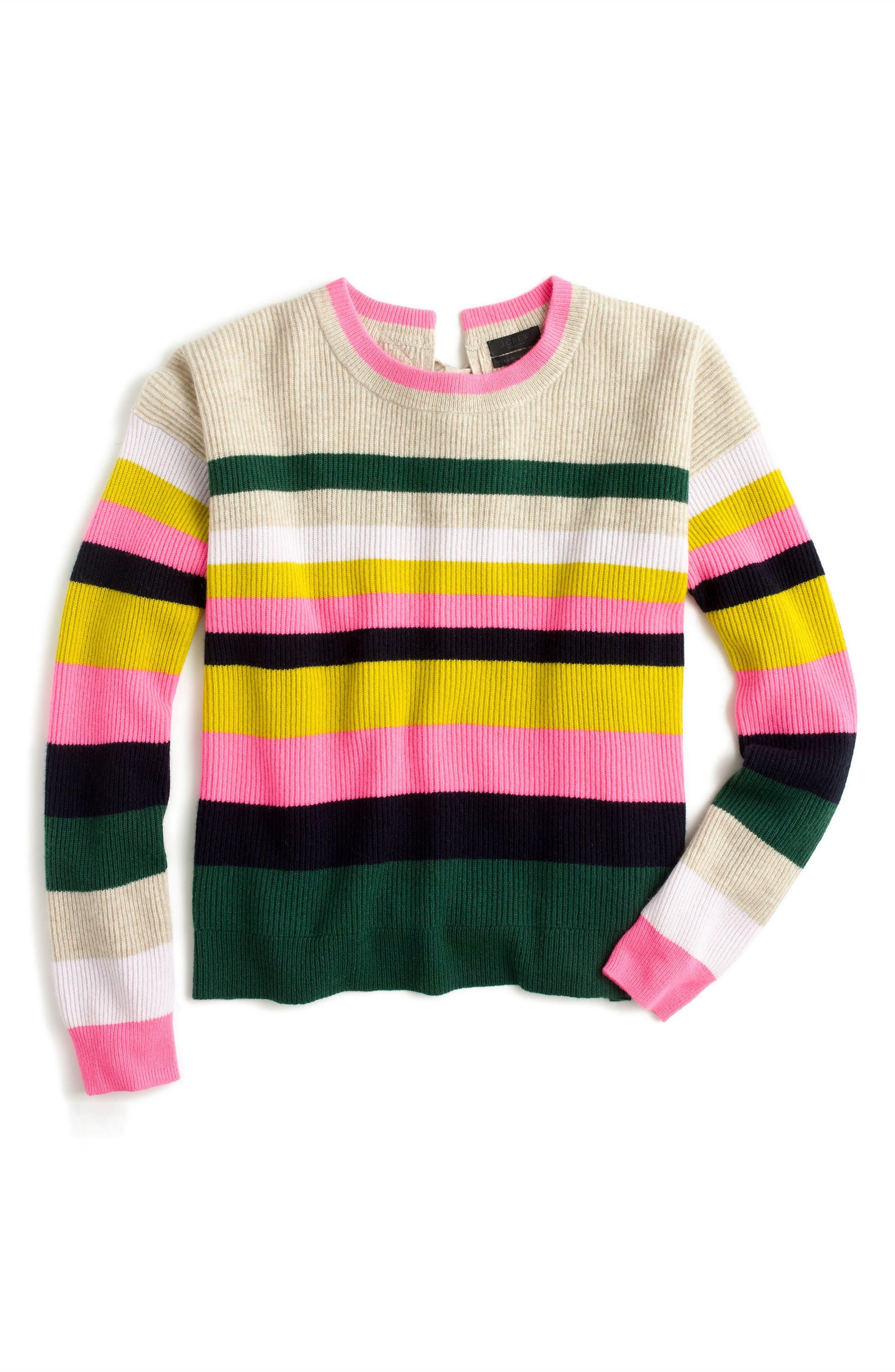 Alternate Image 3  - J.Crew Carine Pop Stripe Italian Cashmere Sweater