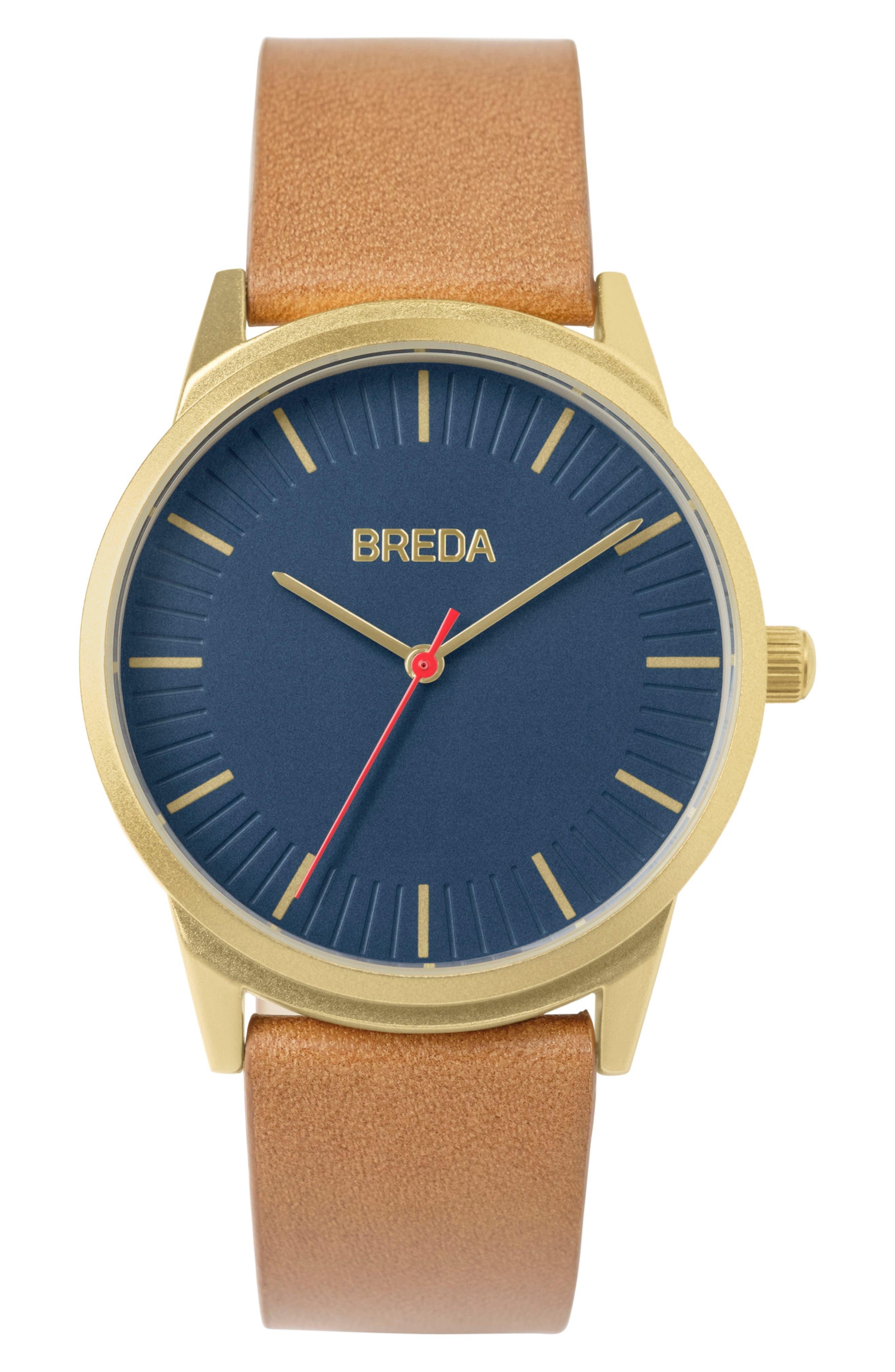Main Image - BREDA Bresson Leather Strap Watch, 42mm