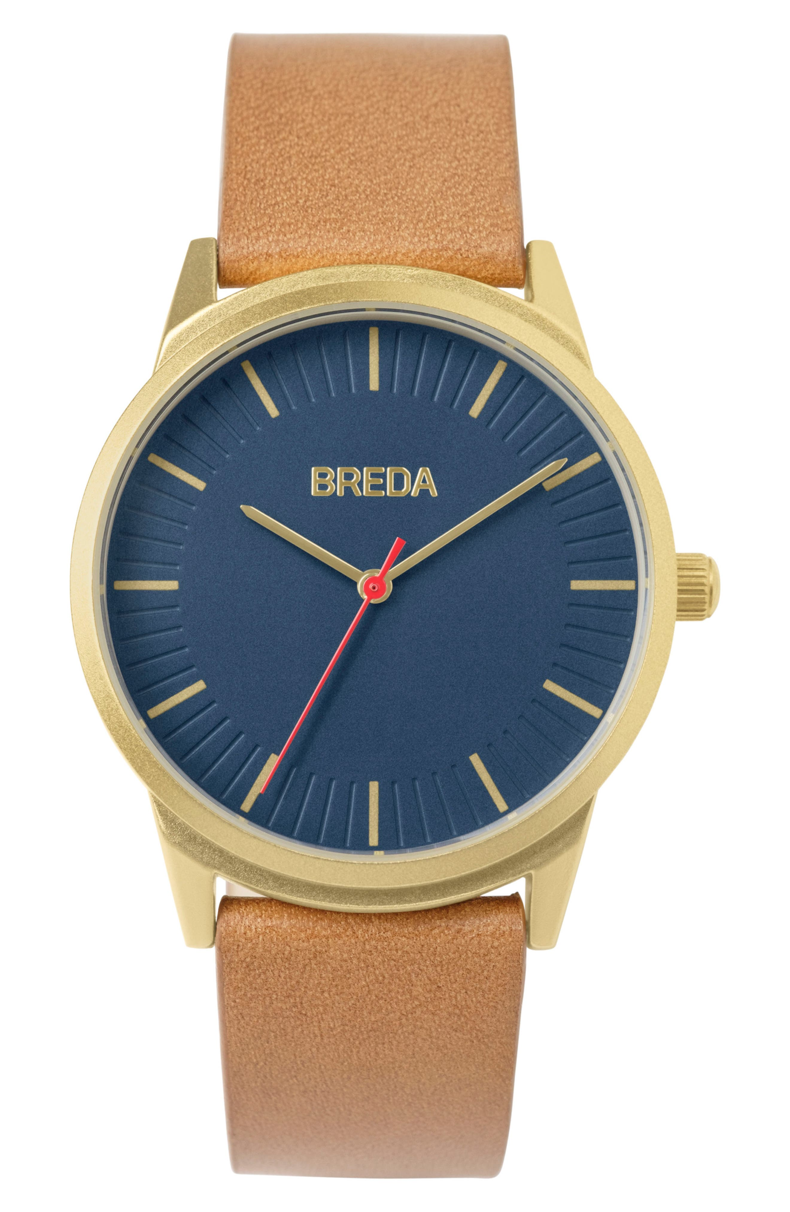 Bresson Leather Strap Watch, 42mm,                         Main,                         color, Blue/ Brown