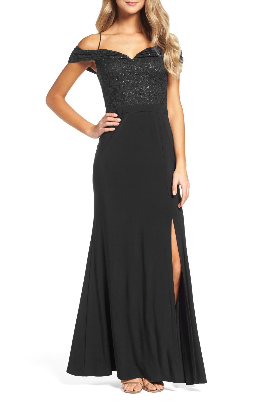 Morgan & Co. Sparkle Off the Shoulder Gown