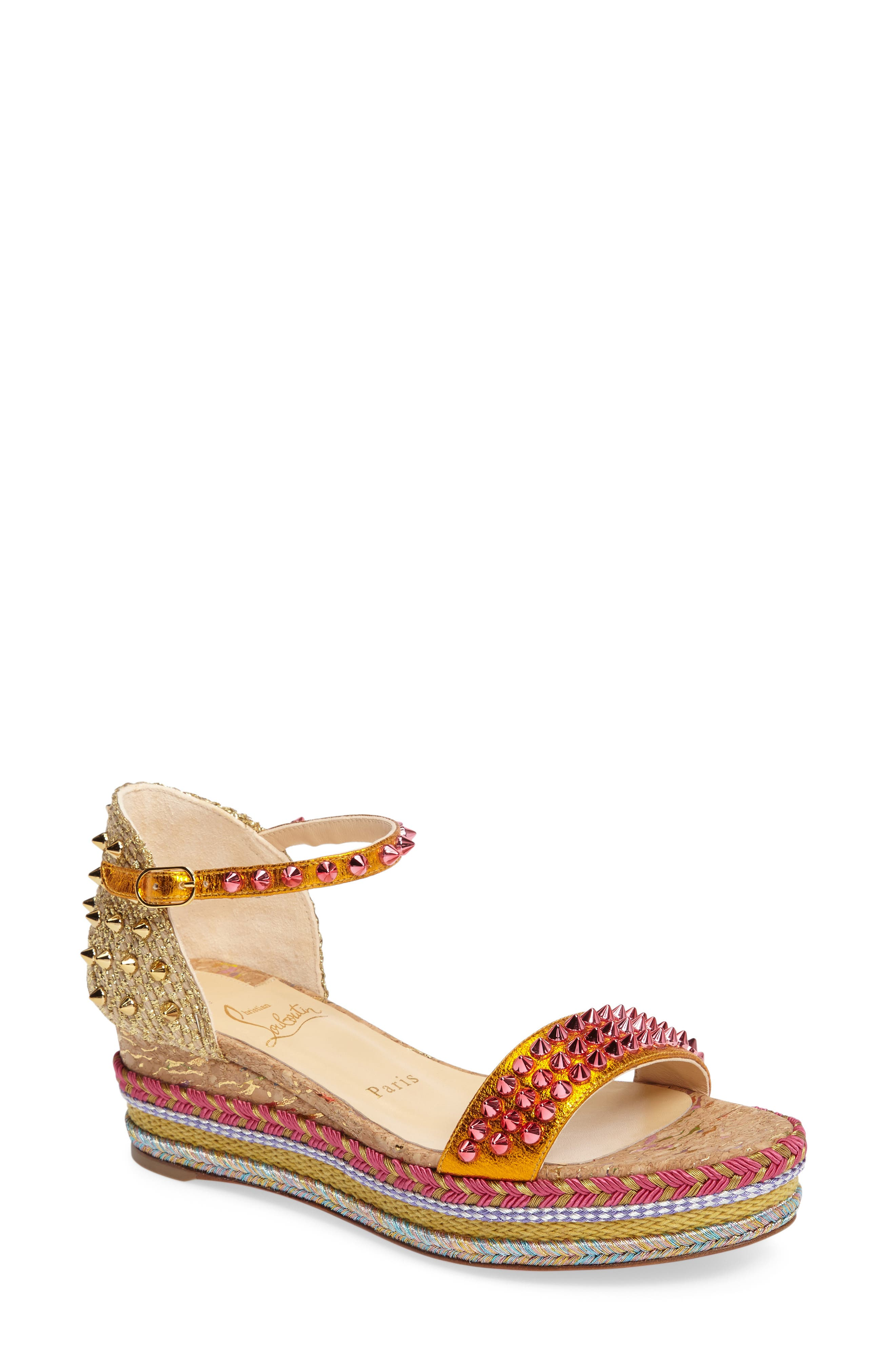Madmonica Espadrille Platform Sandal,                             Main thumbnail 1, color,                             Orange Multi Leather
