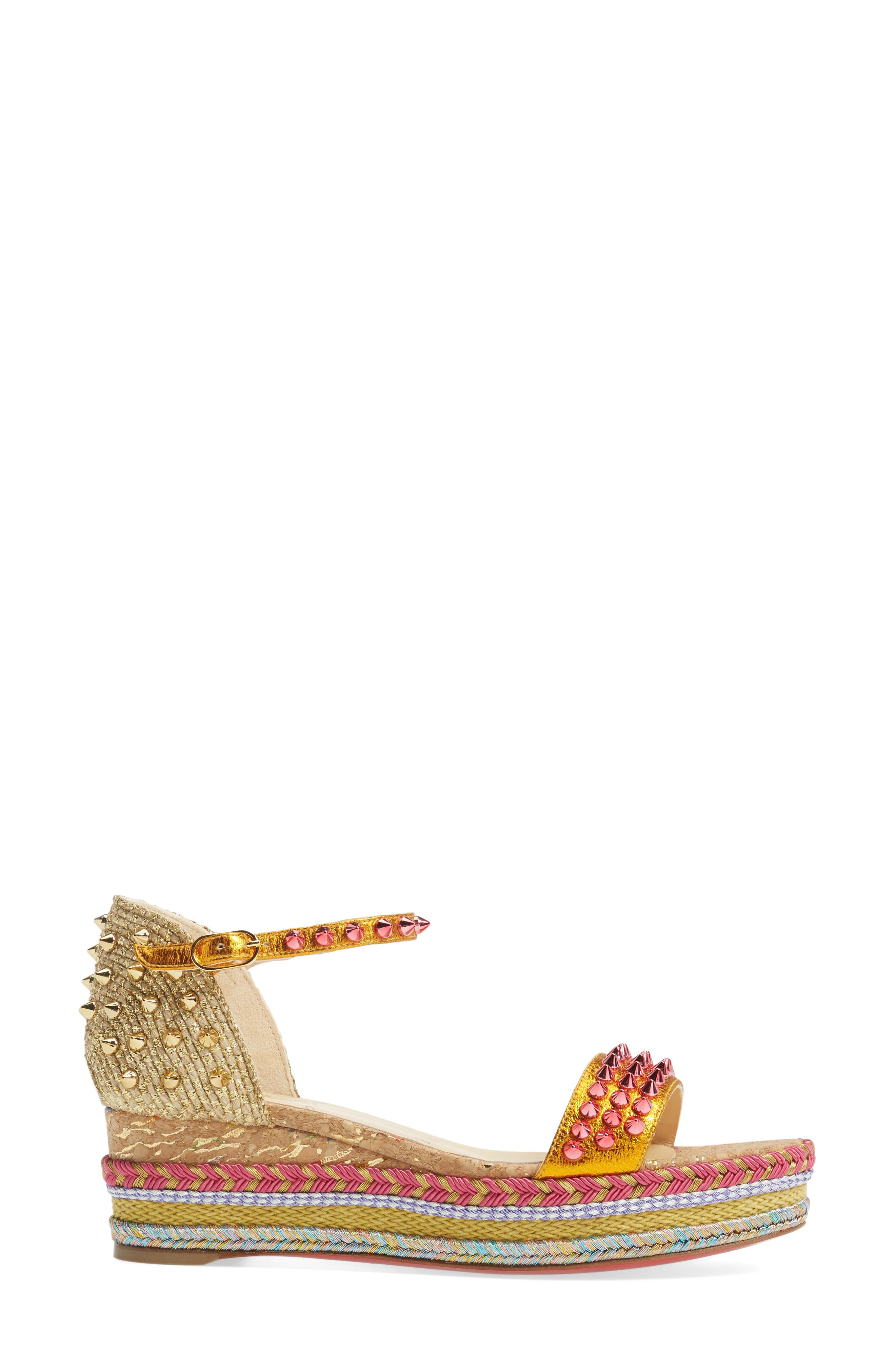 Madmonica Espadrille Platform Sandal,                             Alternate thumbnail 4, color,                             Orange Multi Leather