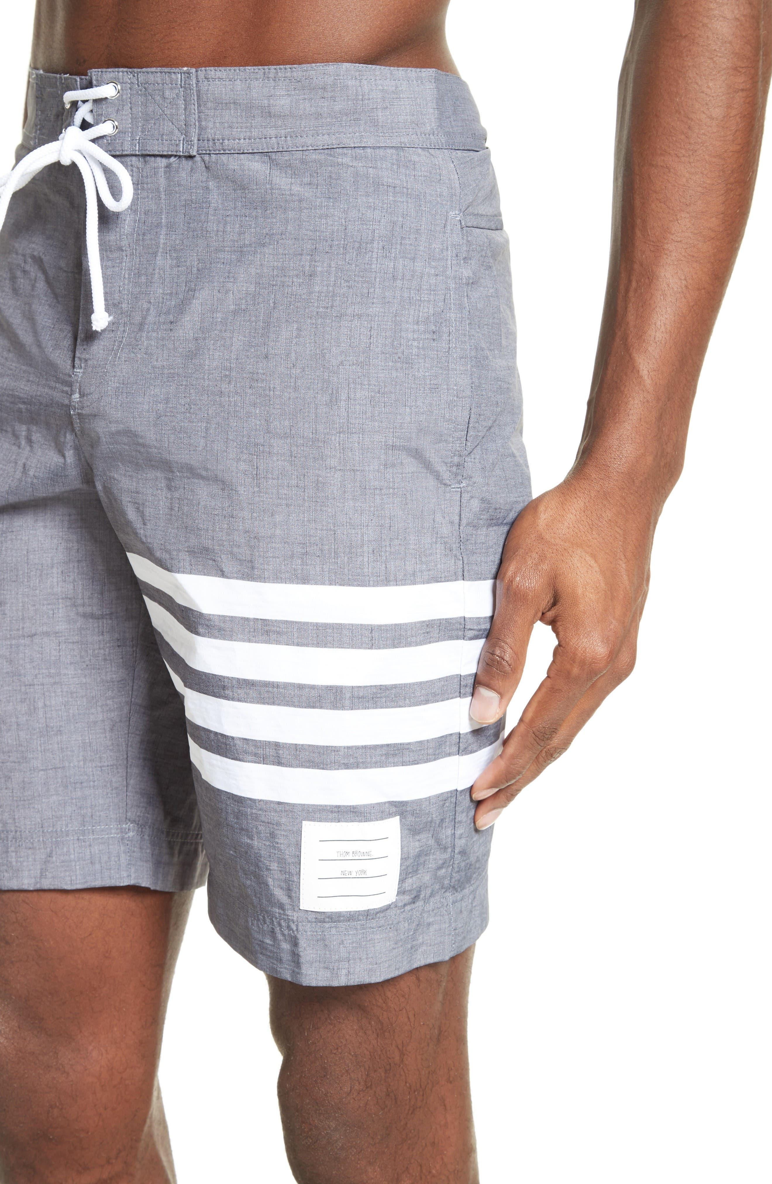 4-Bar Print Tech Board Shorts,                             Alternate thumbnail 4, color,                             Medium Grey