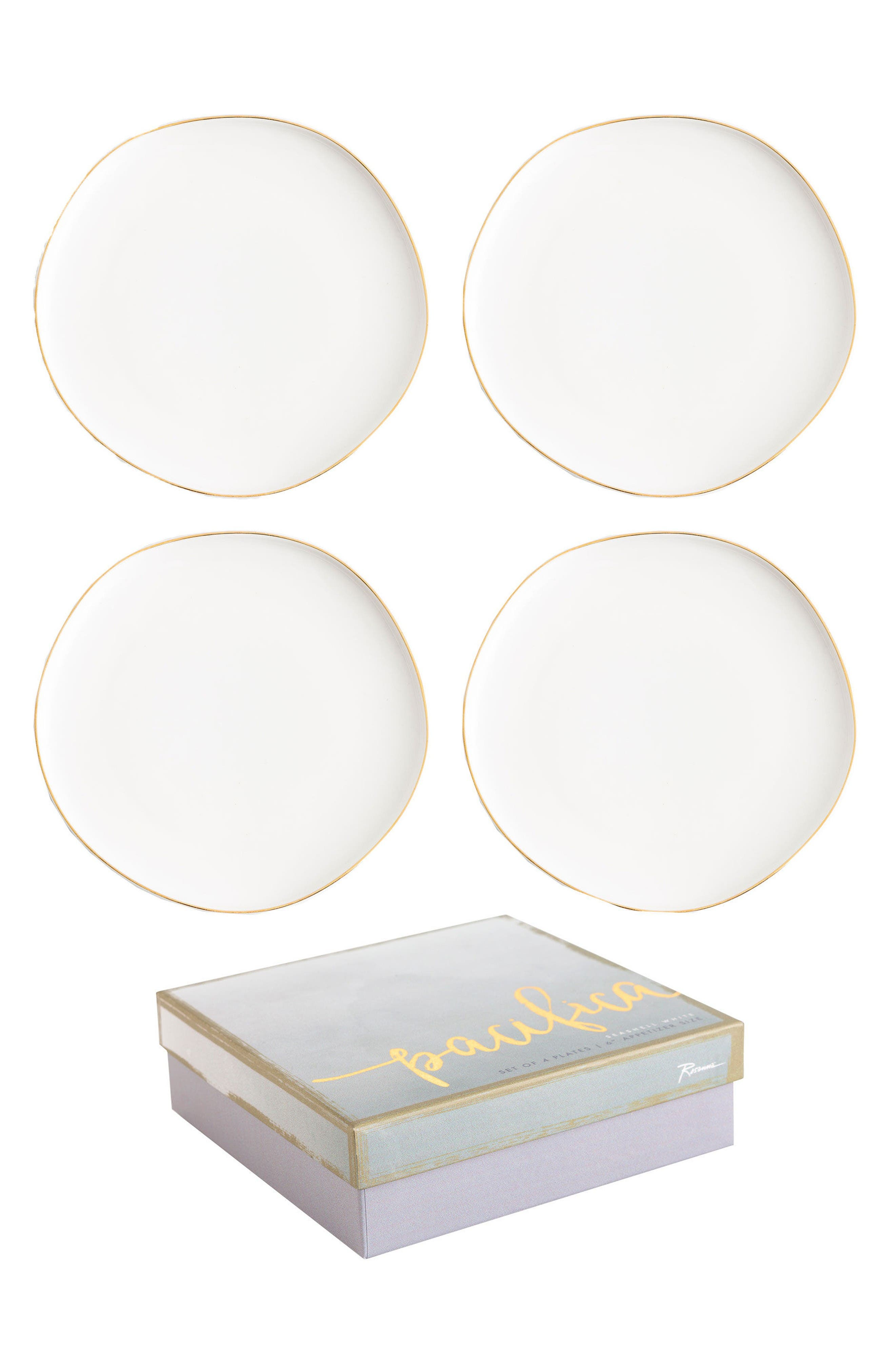 Pacifica Set of 4 Plates,                         Main,                         color, White