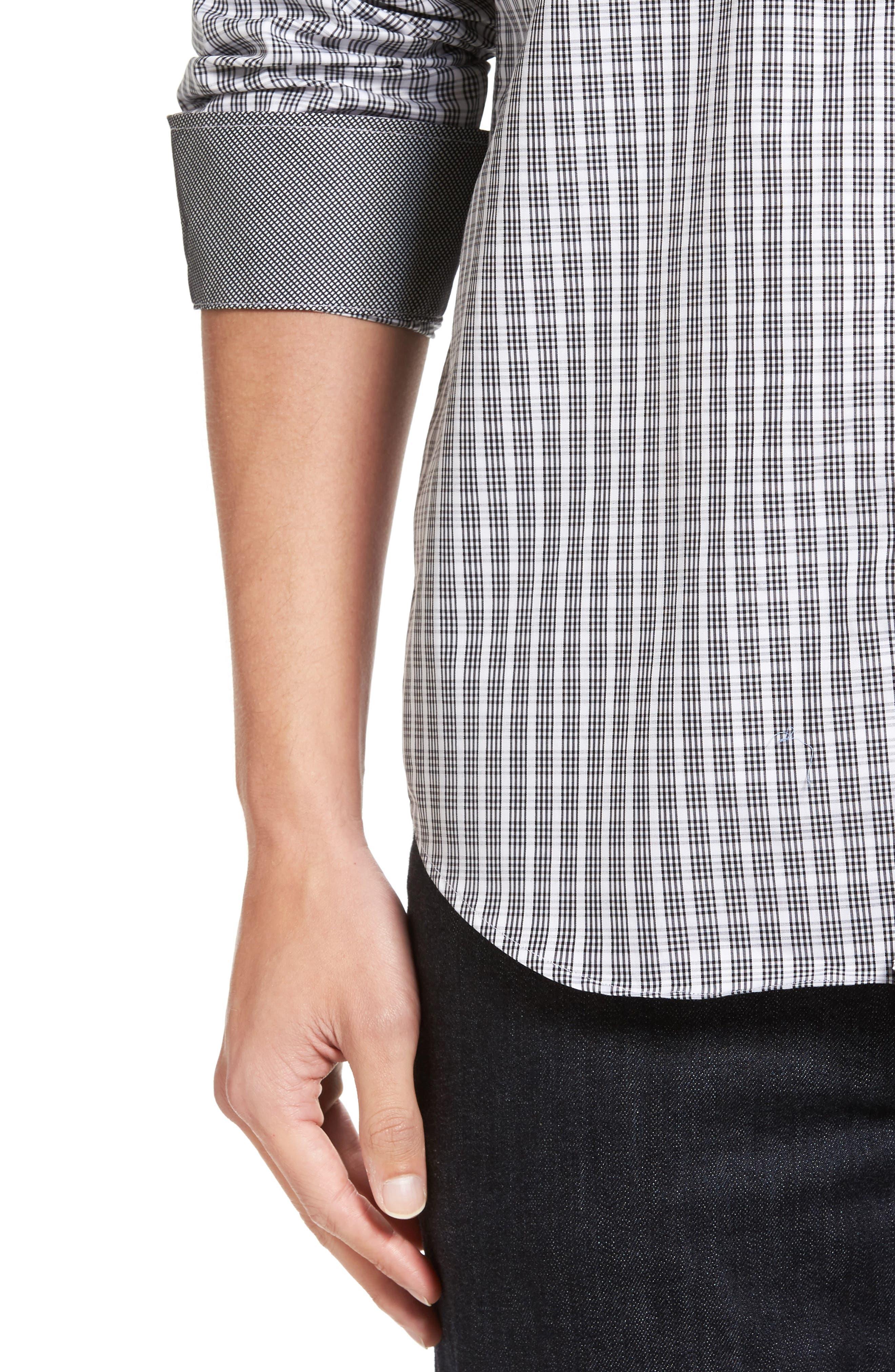 Classic Fit Check Sport Shirt,                             Alternate thumbnail 4, color,                             Black