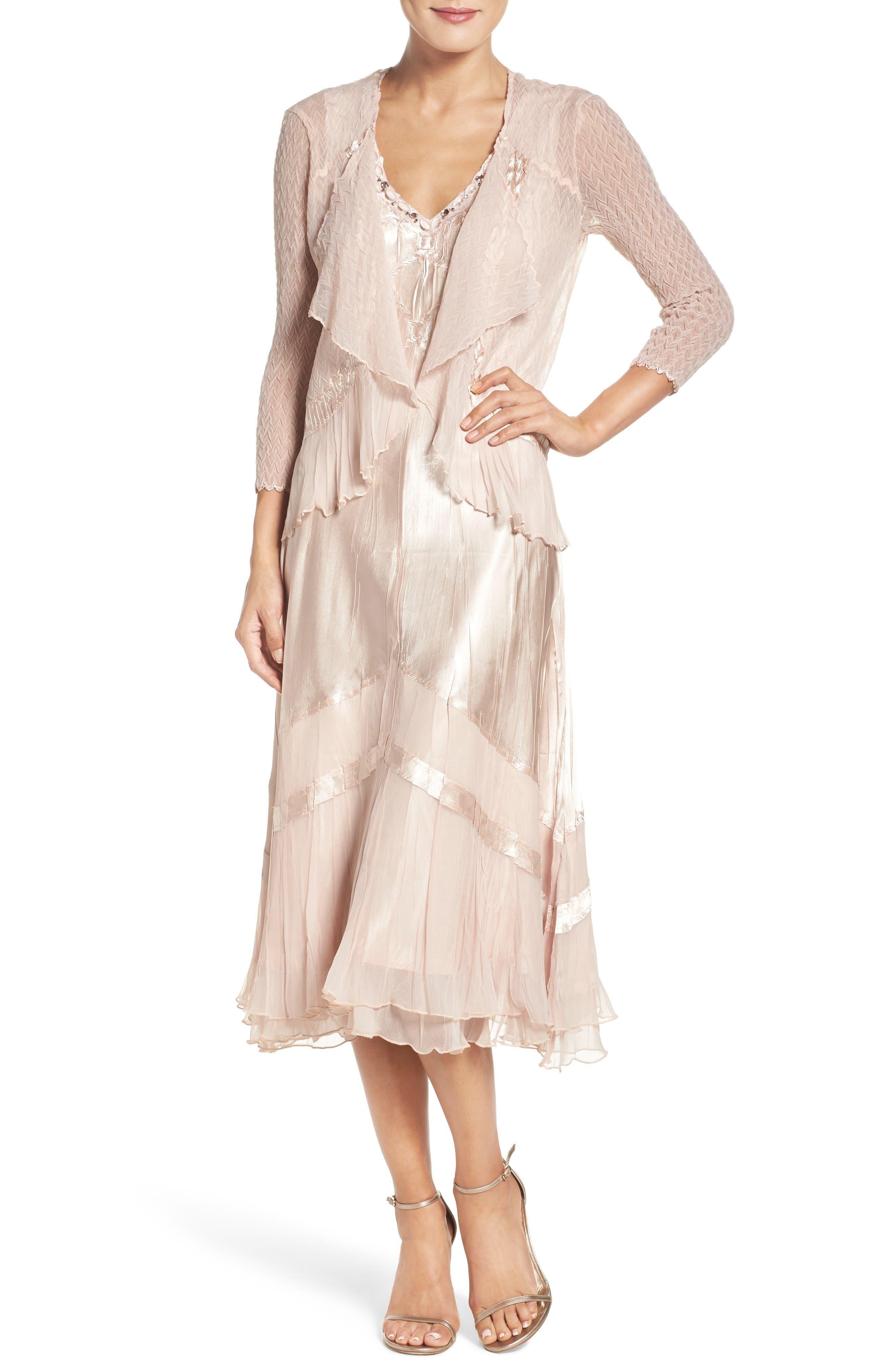 Main Image - Komarov Embellished Midi Dress & Cascade Jacket (Regular & Petite)