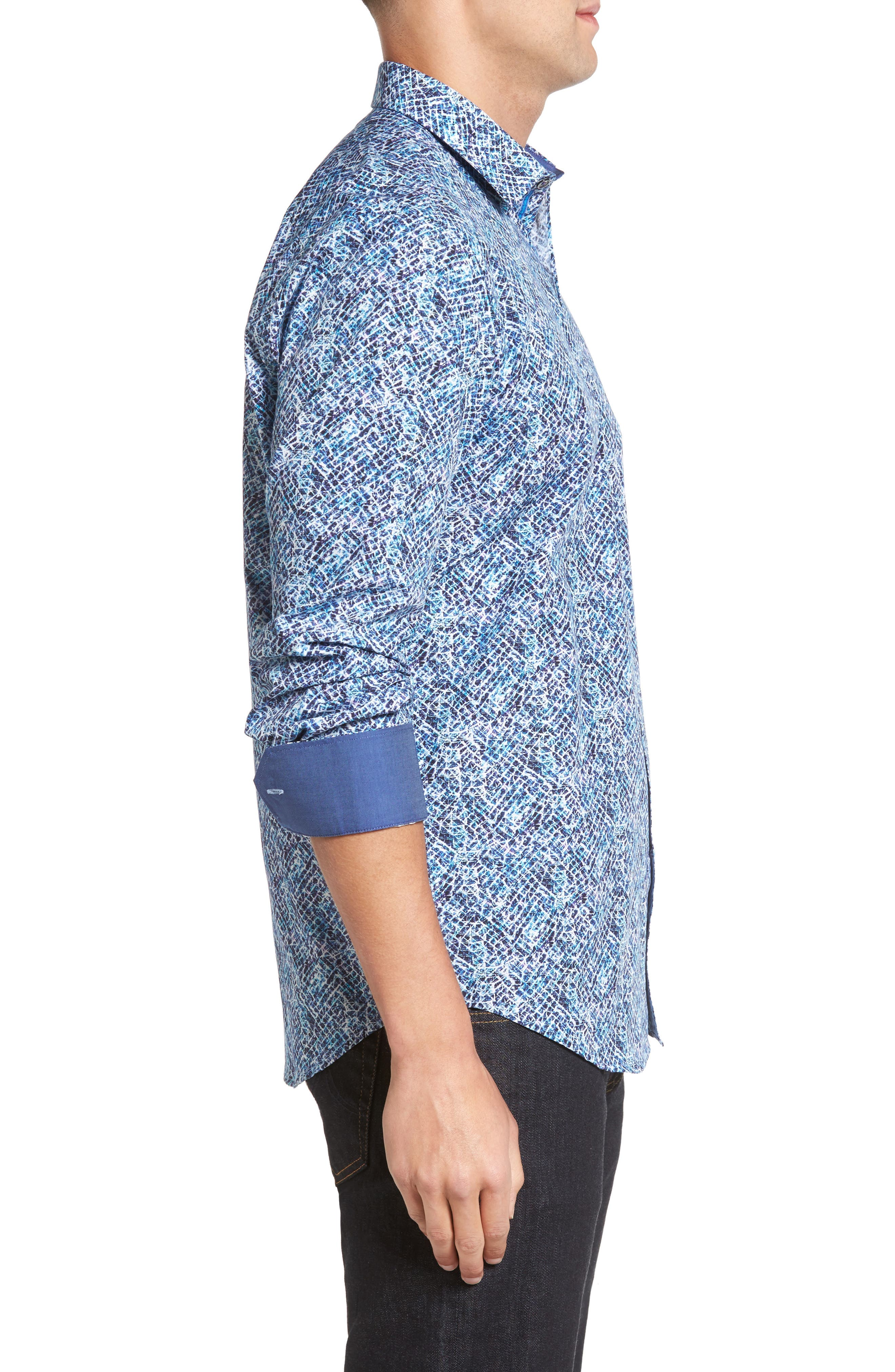 Classic Fit Print Sport Shirt,                             Alternate thumbnail 3, color,                             Night Blue