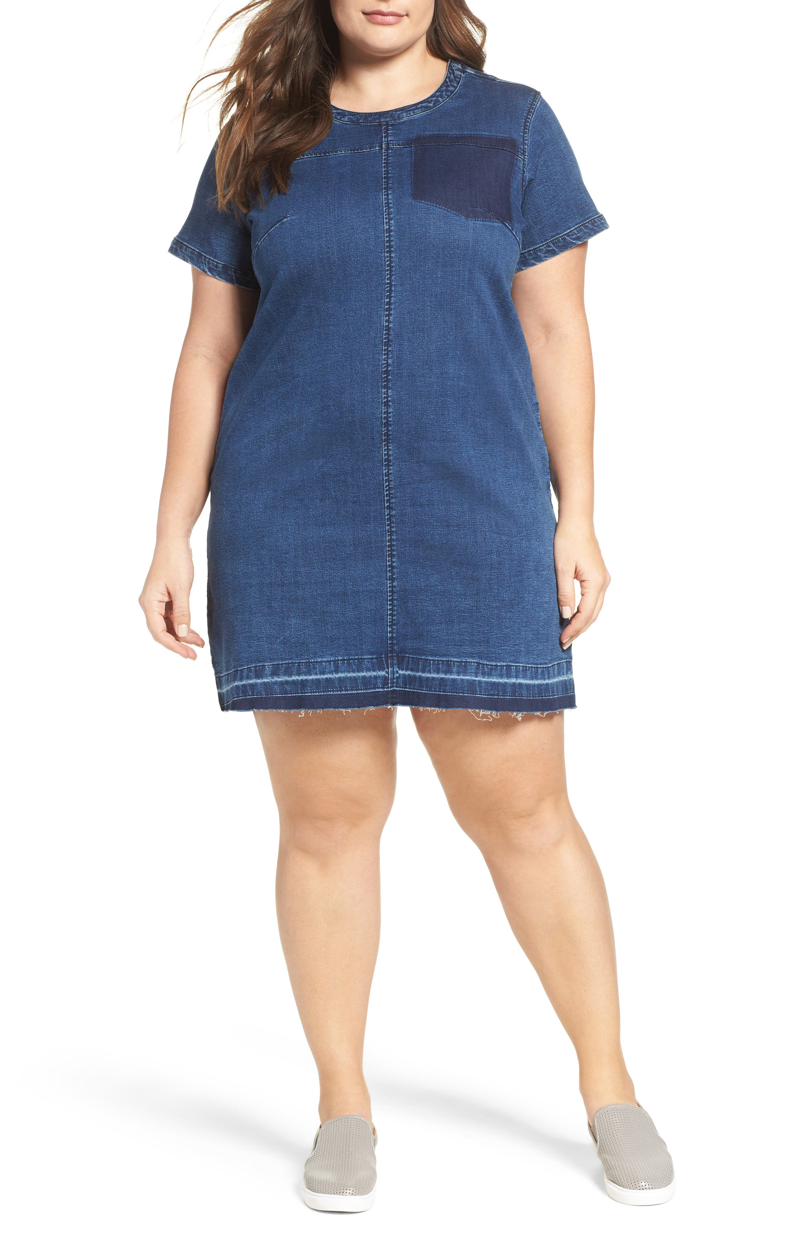 Main Image - City Chic Denim Darling Shift Dress (Plus Size)