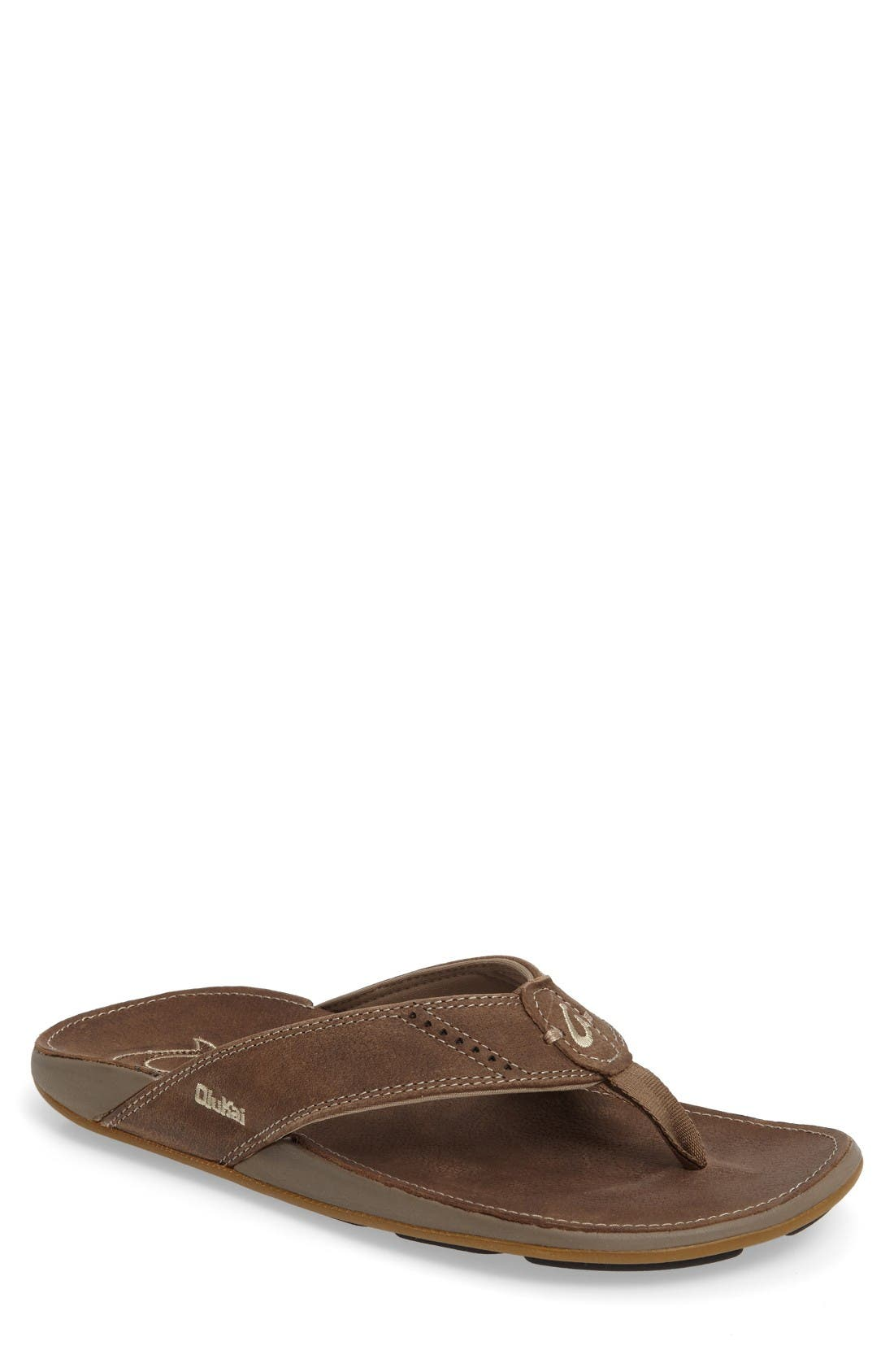 OluKai 'Nui' Leather Flip Flop (Men)