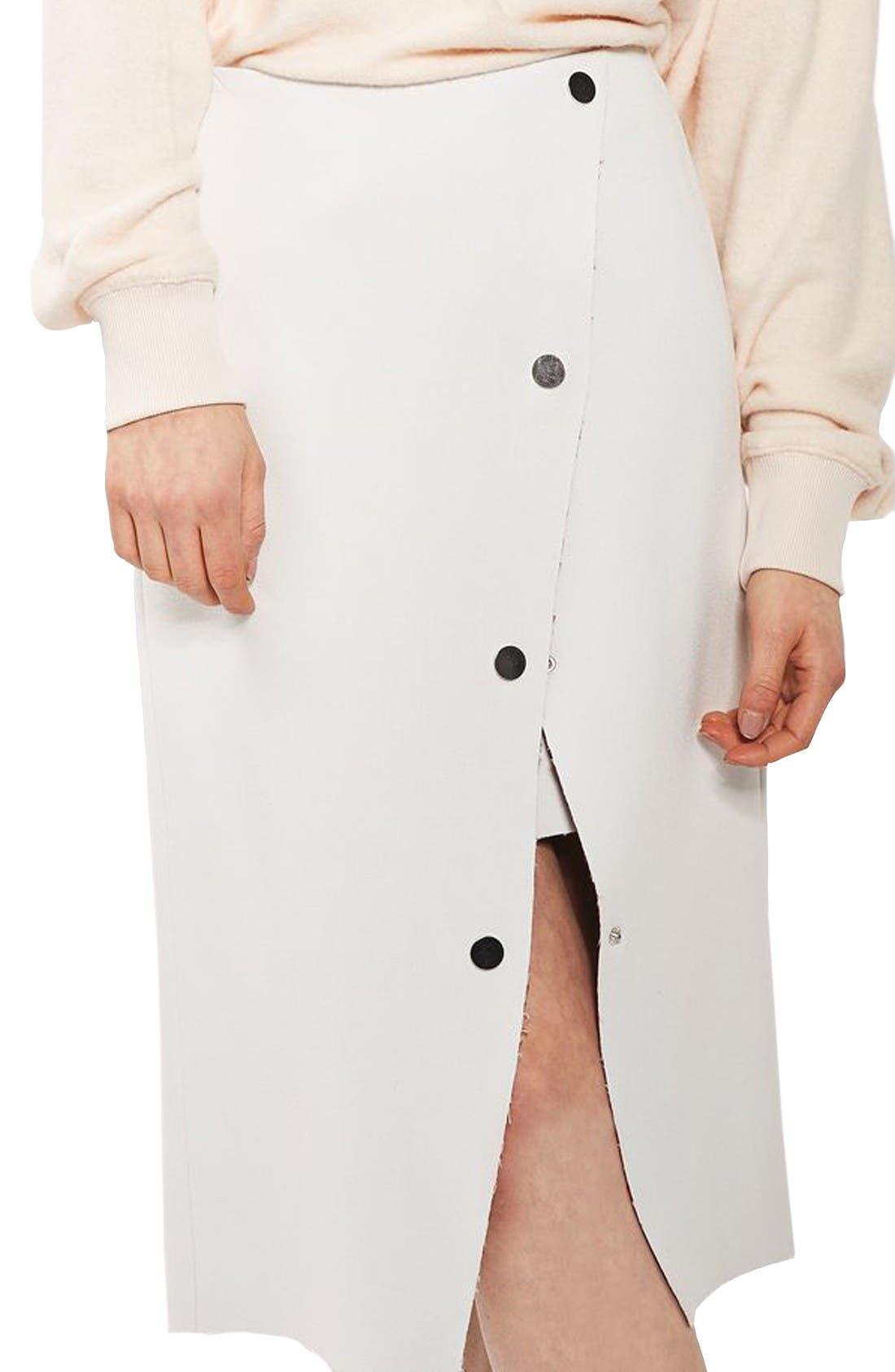 Snap Midi Skirt,                         Main,                         color, Ivory Multi
