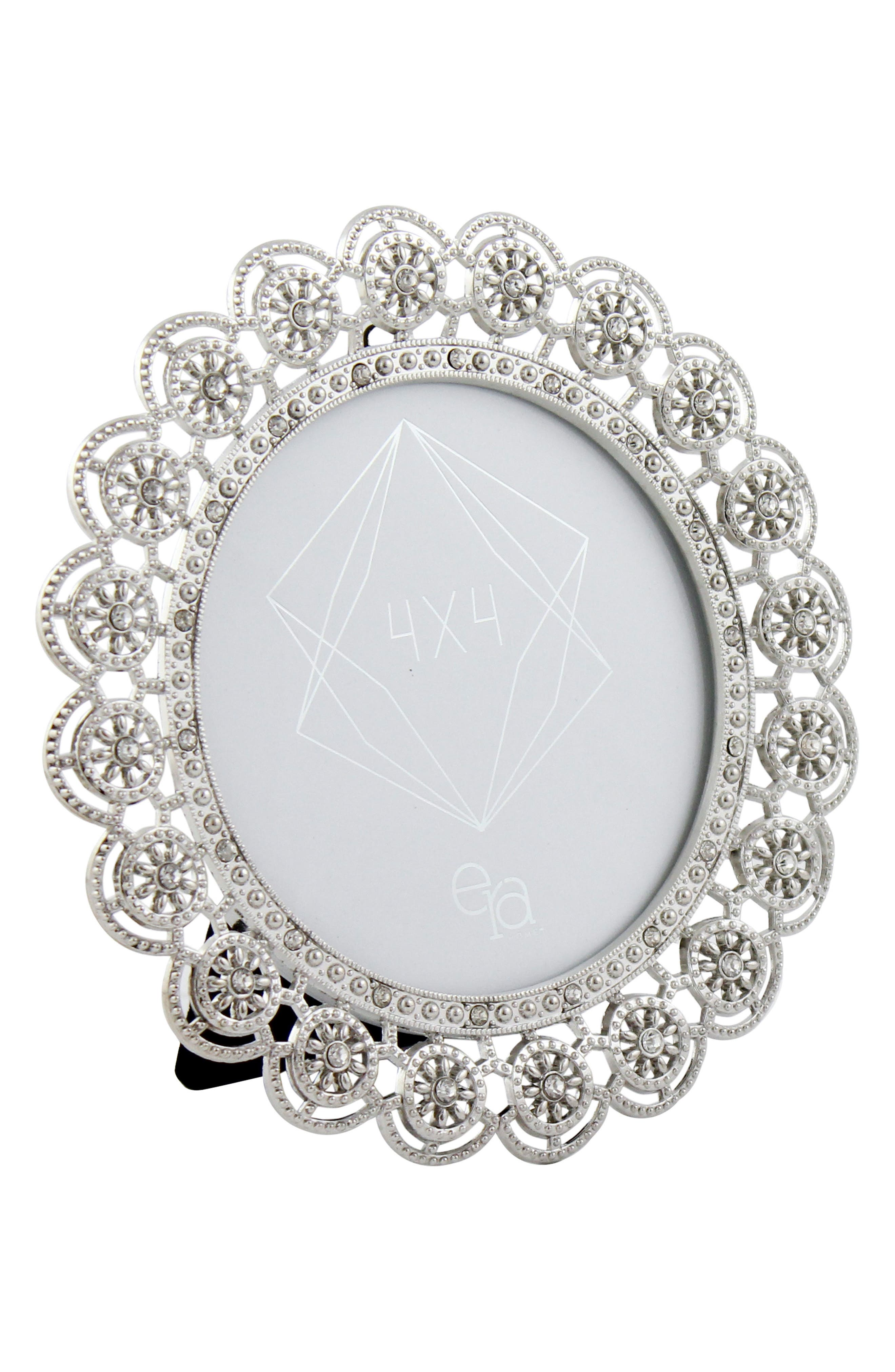 Crystal Round Picture Frame,                         Main,                         color, Metallic Silver