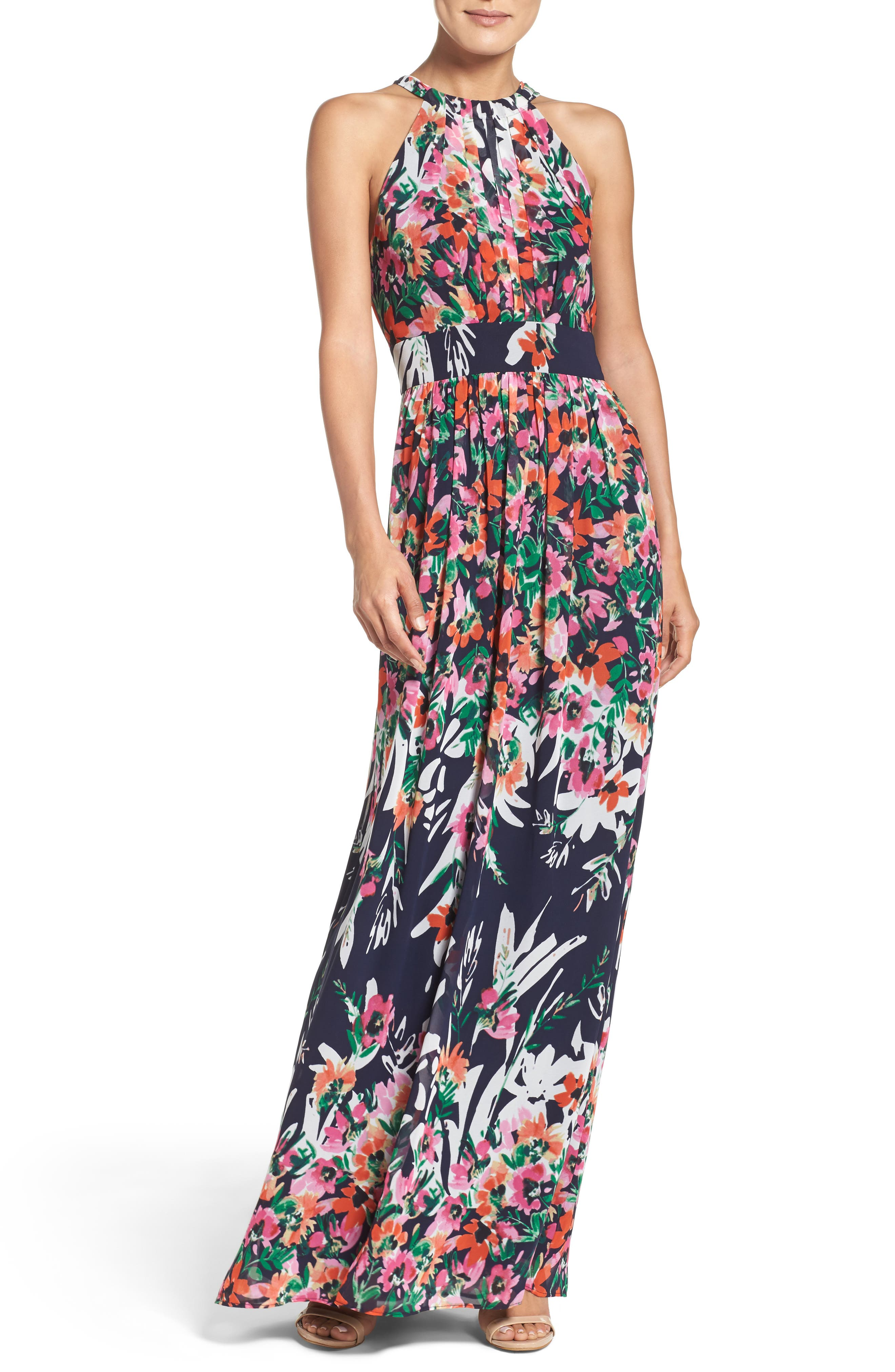 4491311d9714e Floral Print Chiffon Halter Maxi Dress in Navy/ Pink