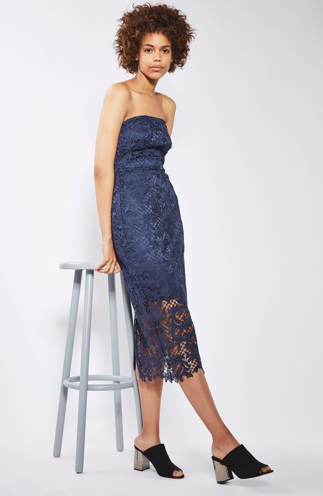 Alternate Image 2  - Topshop Strapless Lace Midi Dress