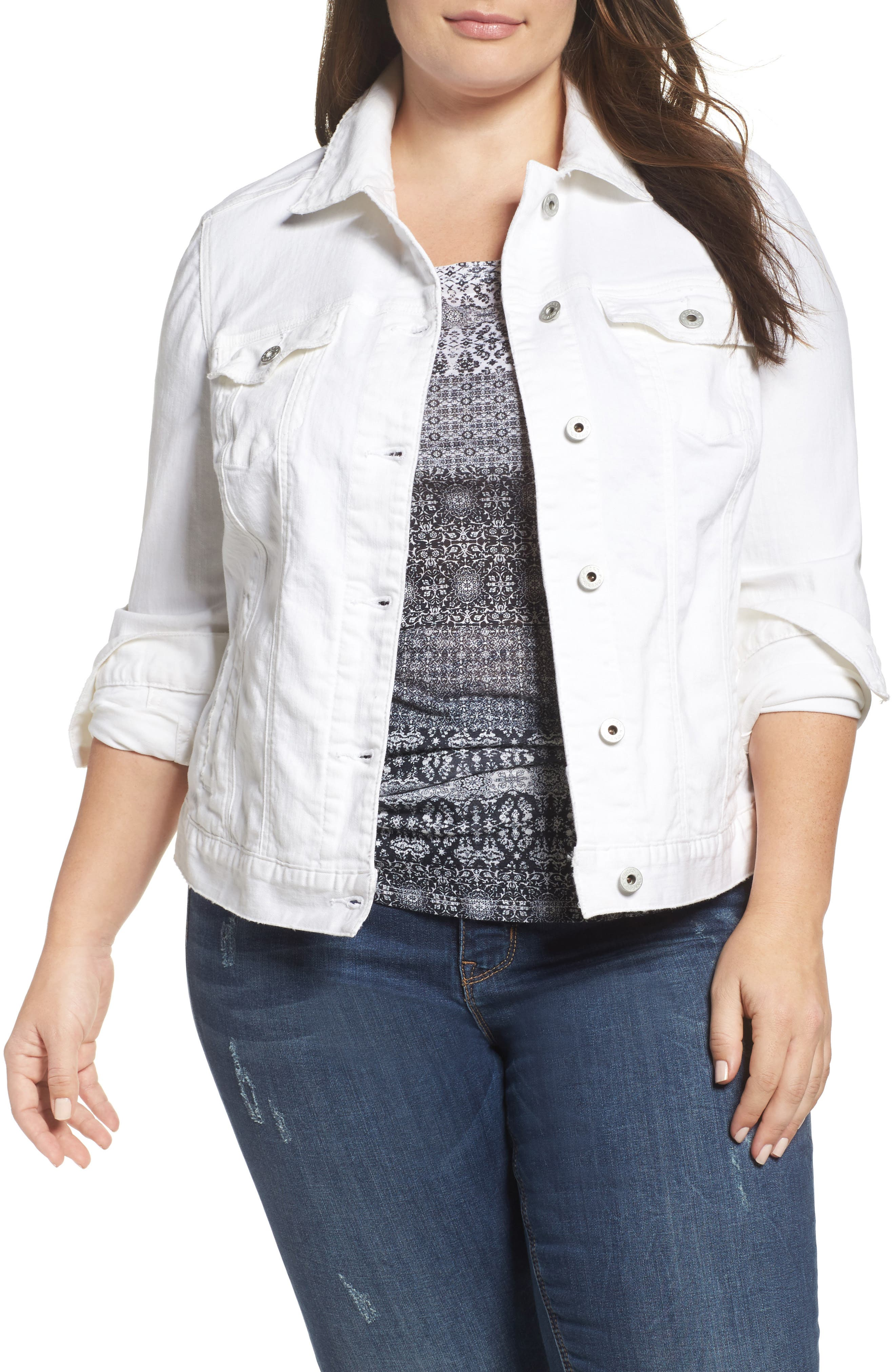 Alternate Image 1 Selected - Lucky Brand Floral Trucker Jacket (Plus Size)