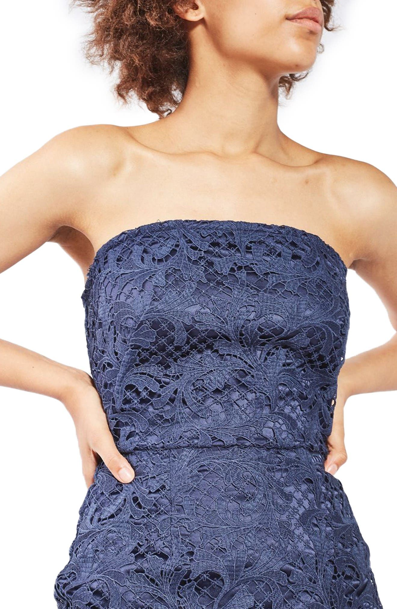 Alternate Image 5  - Topshop Strapless Lace Midi Dress