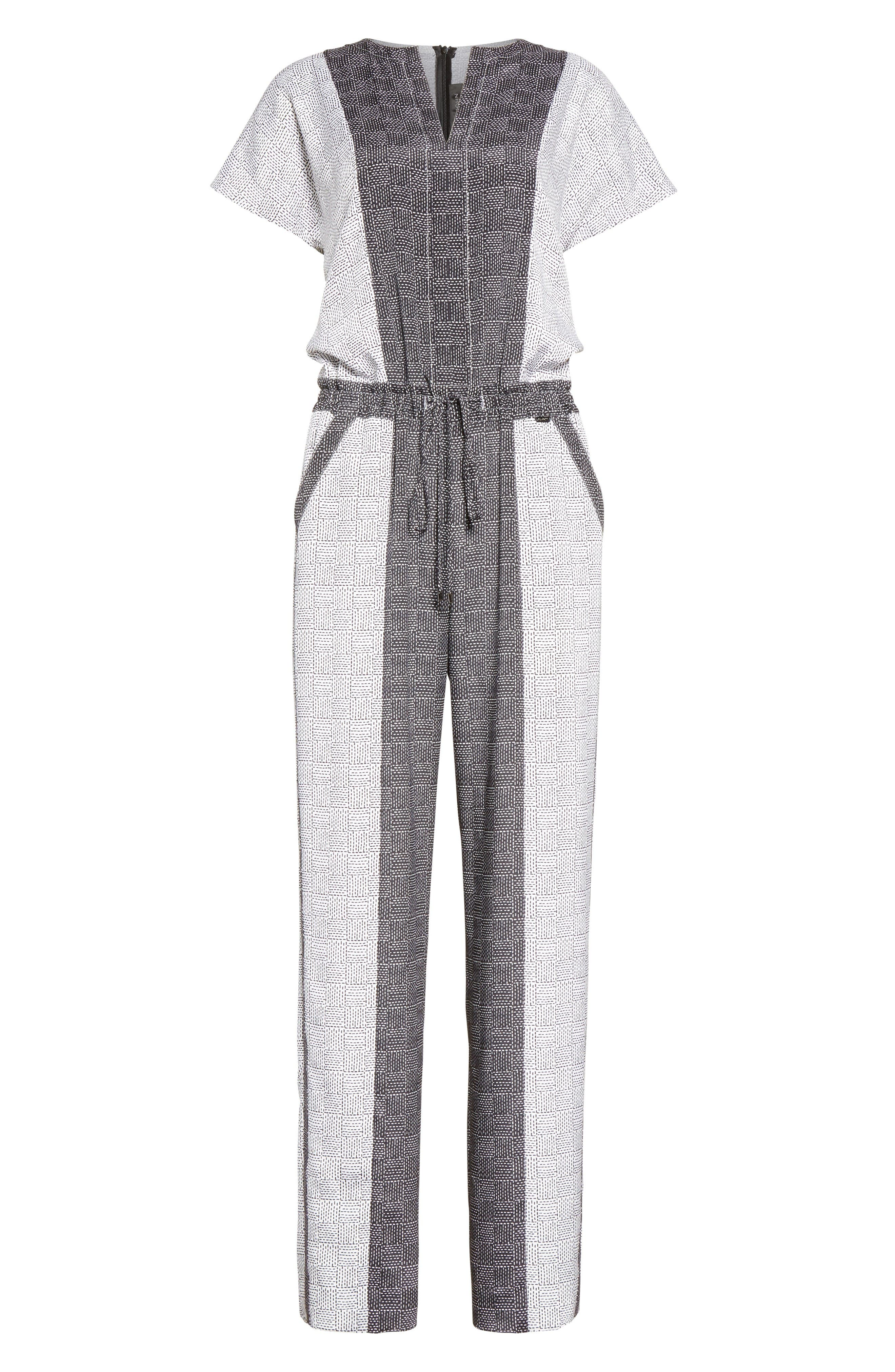 Stitch Print Stretch Silk Jumpsuit,                             Alternate thumbnail 6, color,                             Bianco/ Caviar