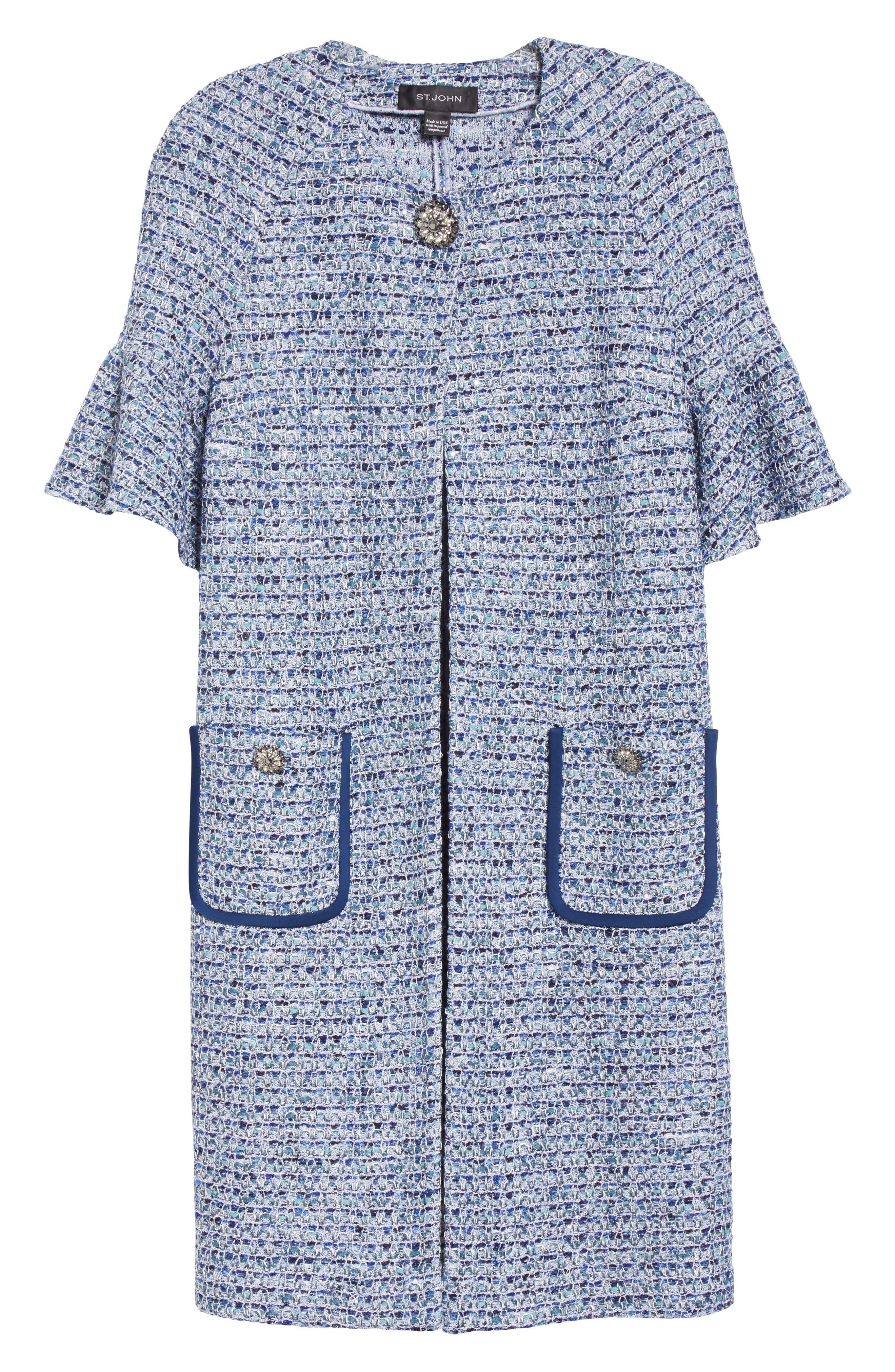 Kiara Tweed Bell Sleeve Jacket,                             Alternate thumbnail 7, color,                             Blue Multi