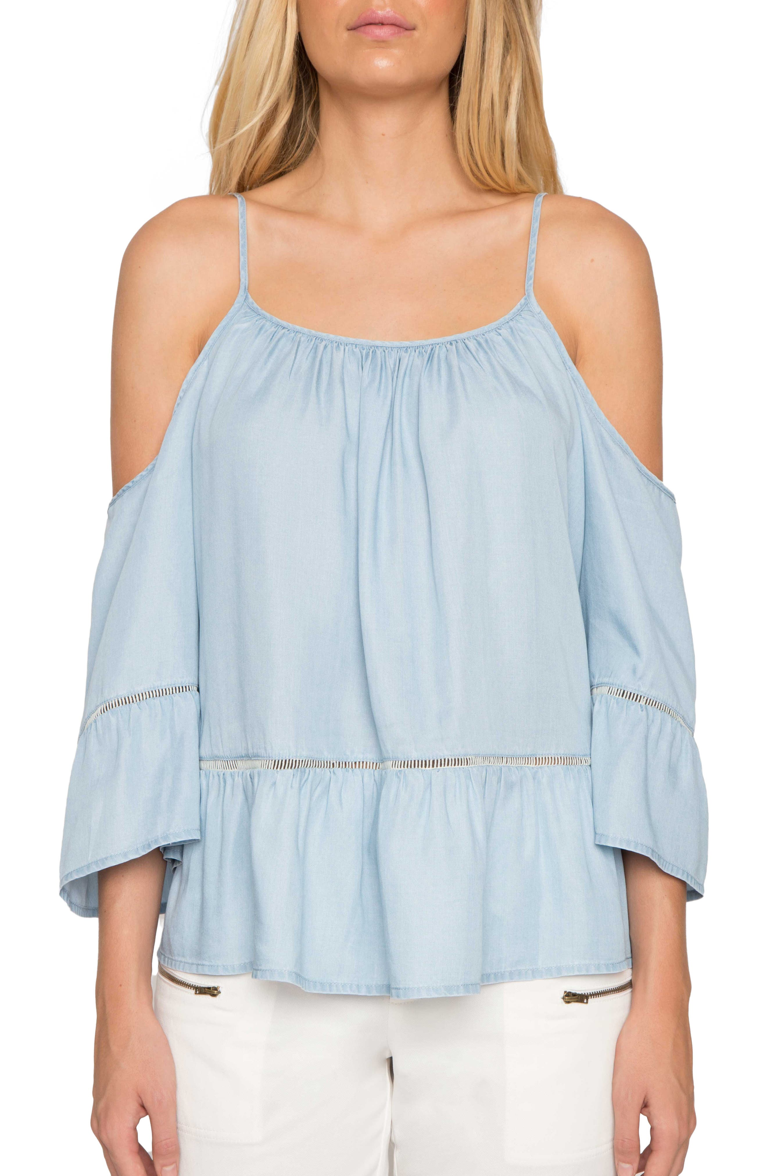 Off the Shoulder Chambray Top,                         Main,                         color, Chambray