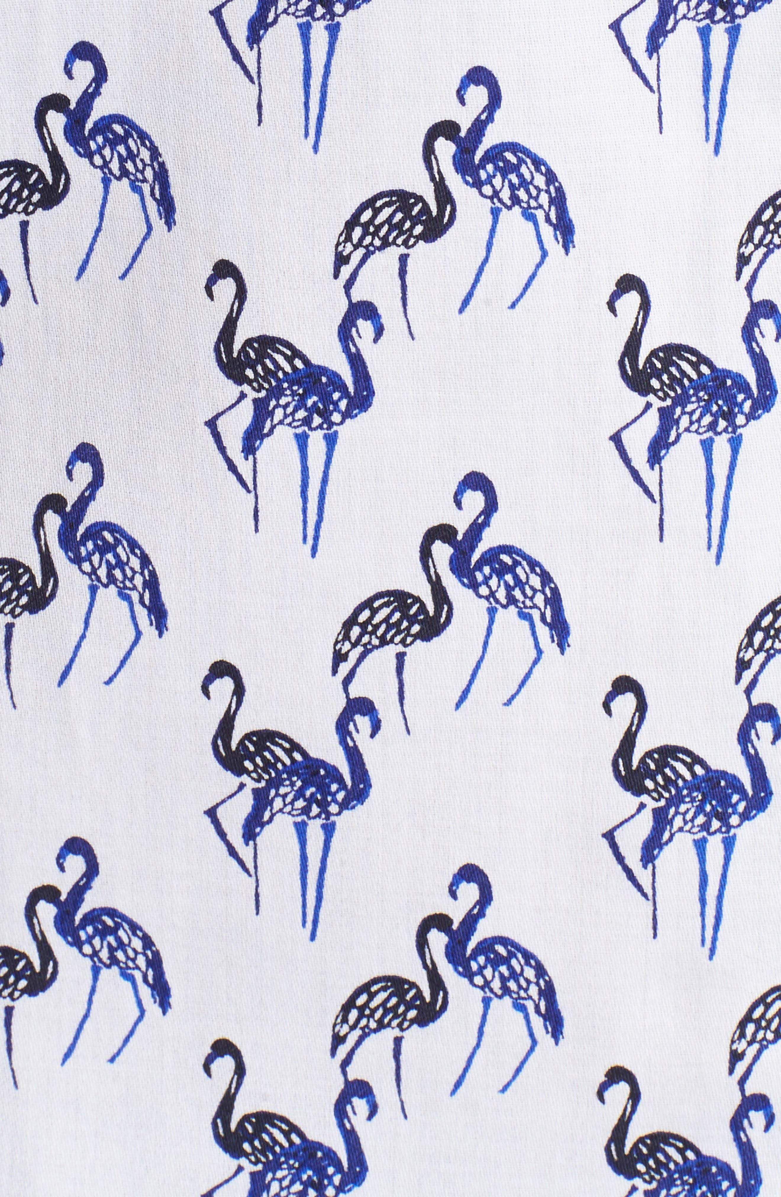 Flamingo Print Wrinkle Free Shirt,                             Alternate thumbnail 5, color,                             Blue Lagoon