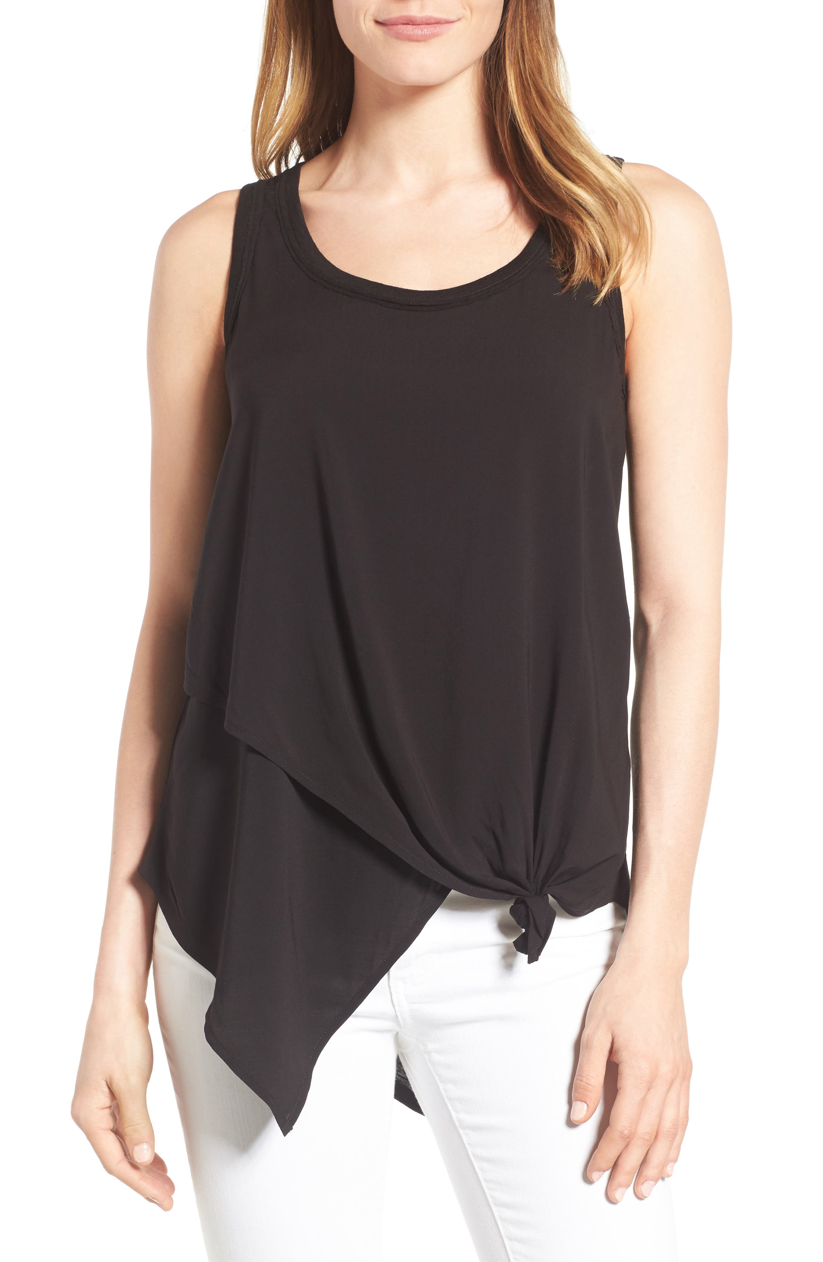 Knotted Asymmetrical Tank,                         Main,                         color, Black