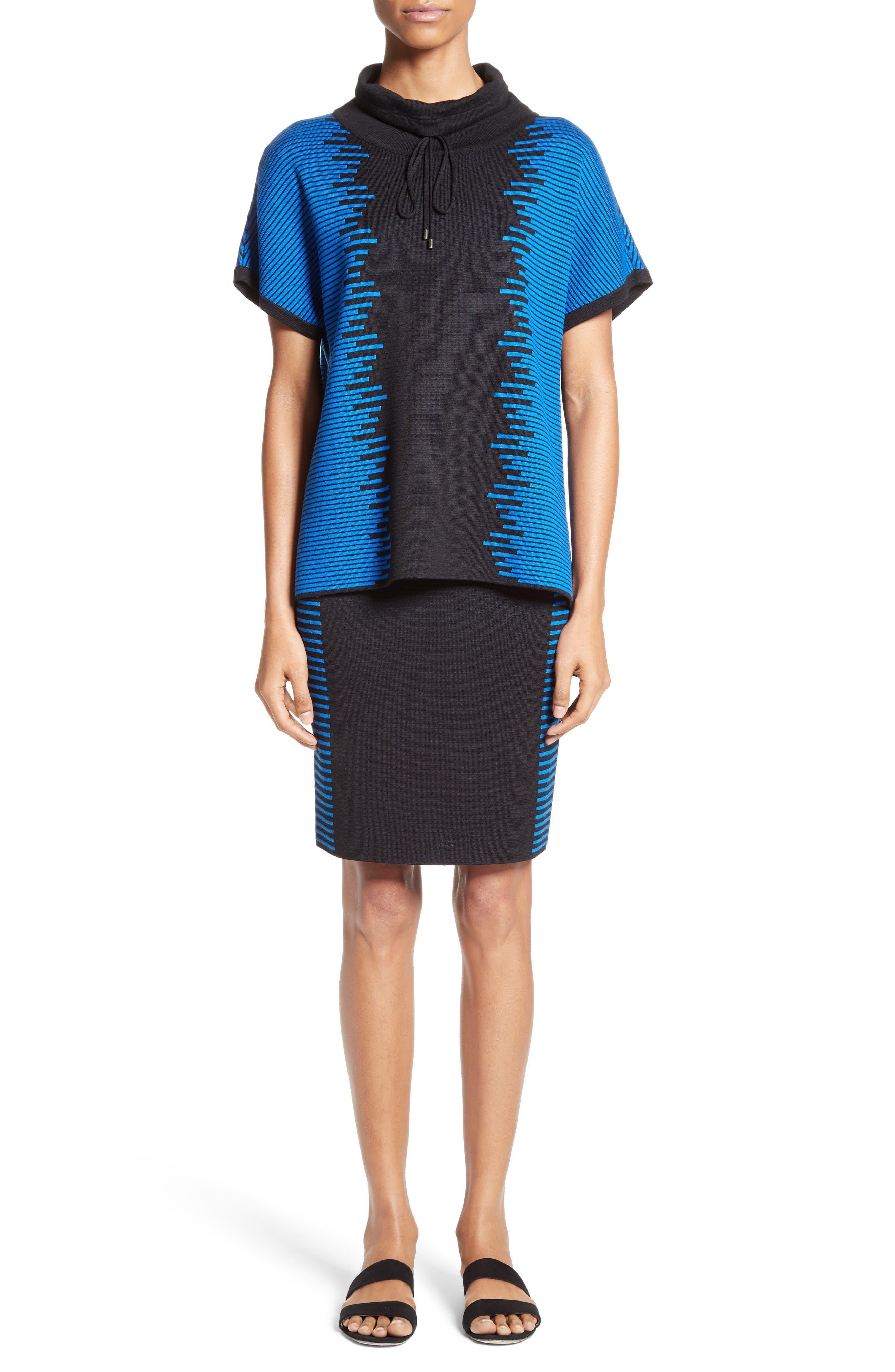 Stripe Knit Jacquard Pencil Skirt,                             Alternate thumbnail 8, color,                             Caviar/ Jaya Blue