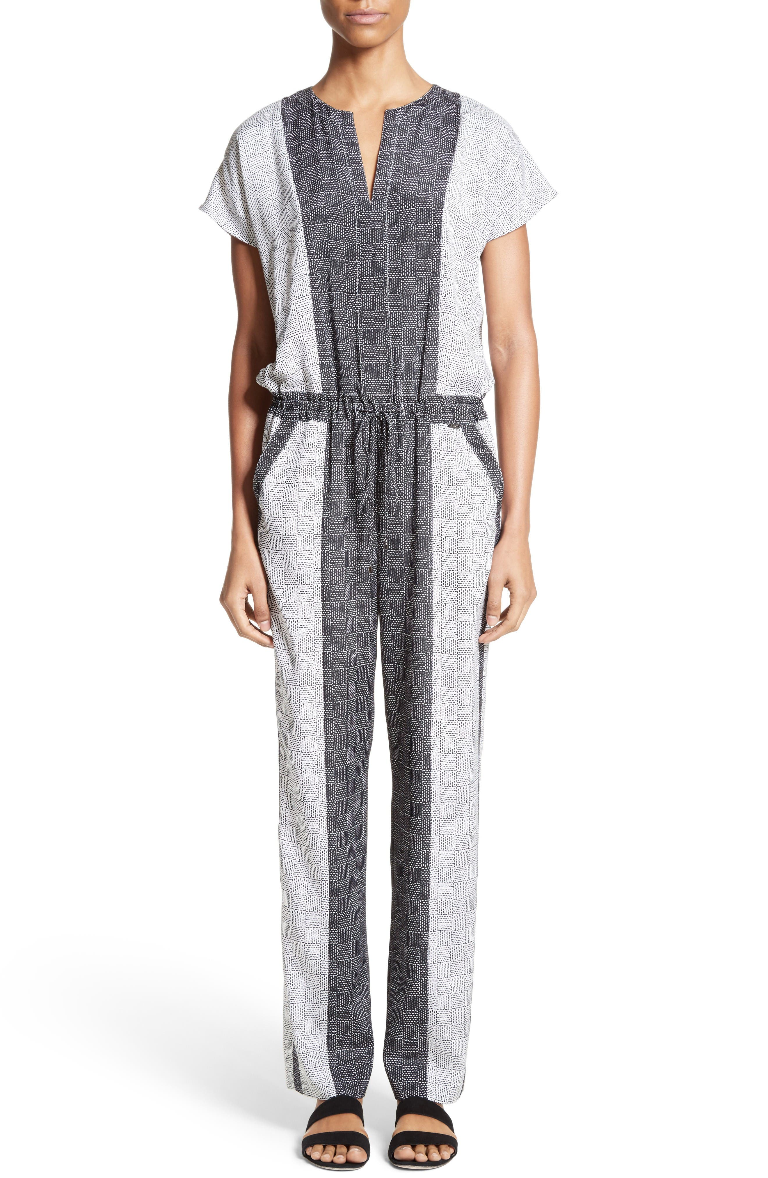 Stitch Print Stretch Silk Jumpsuit,                         Main,                         color, Bianco/ Caviar