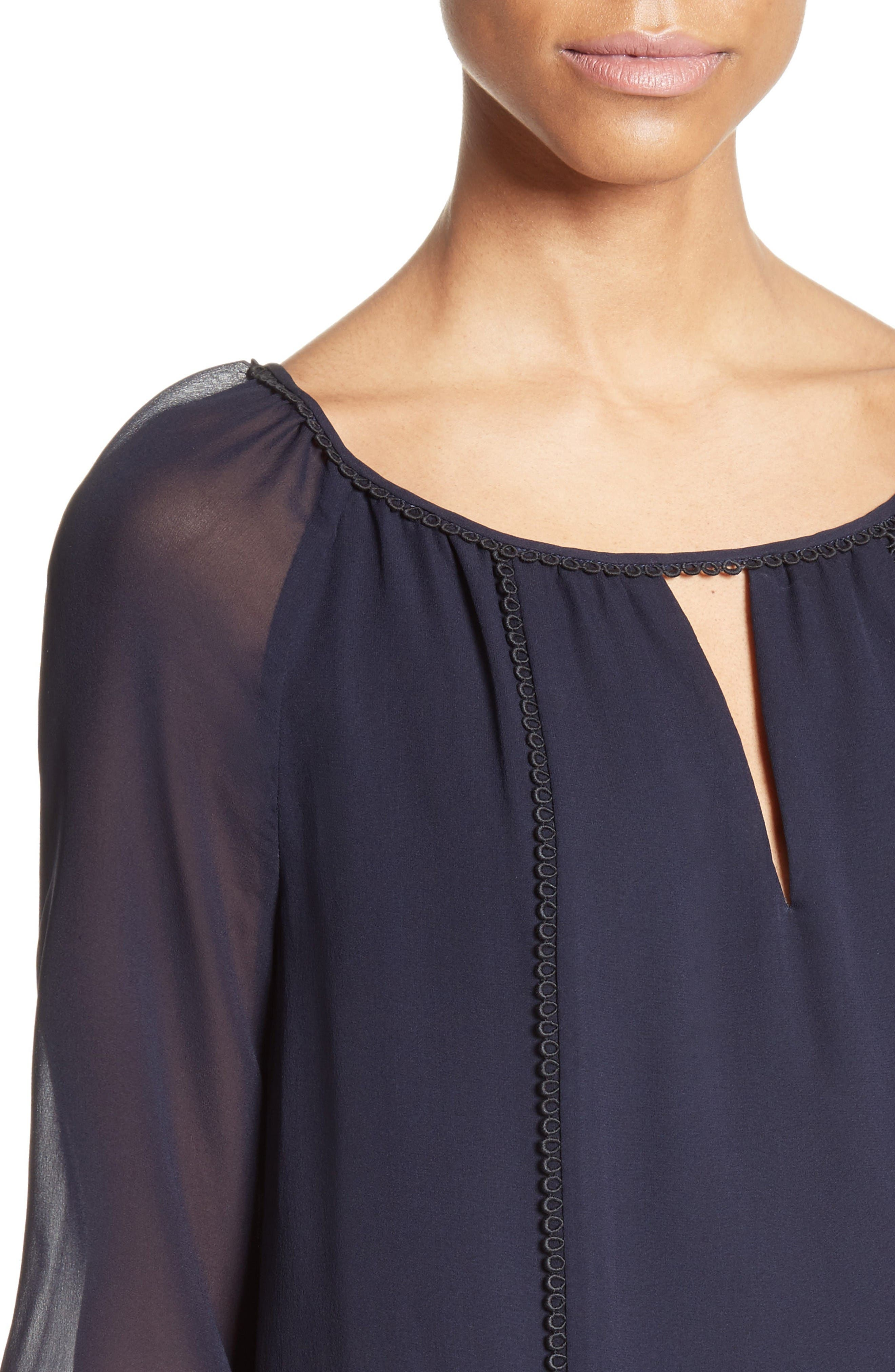 Alternate Image 4  - St. John Collection Silk Georgette Blouse