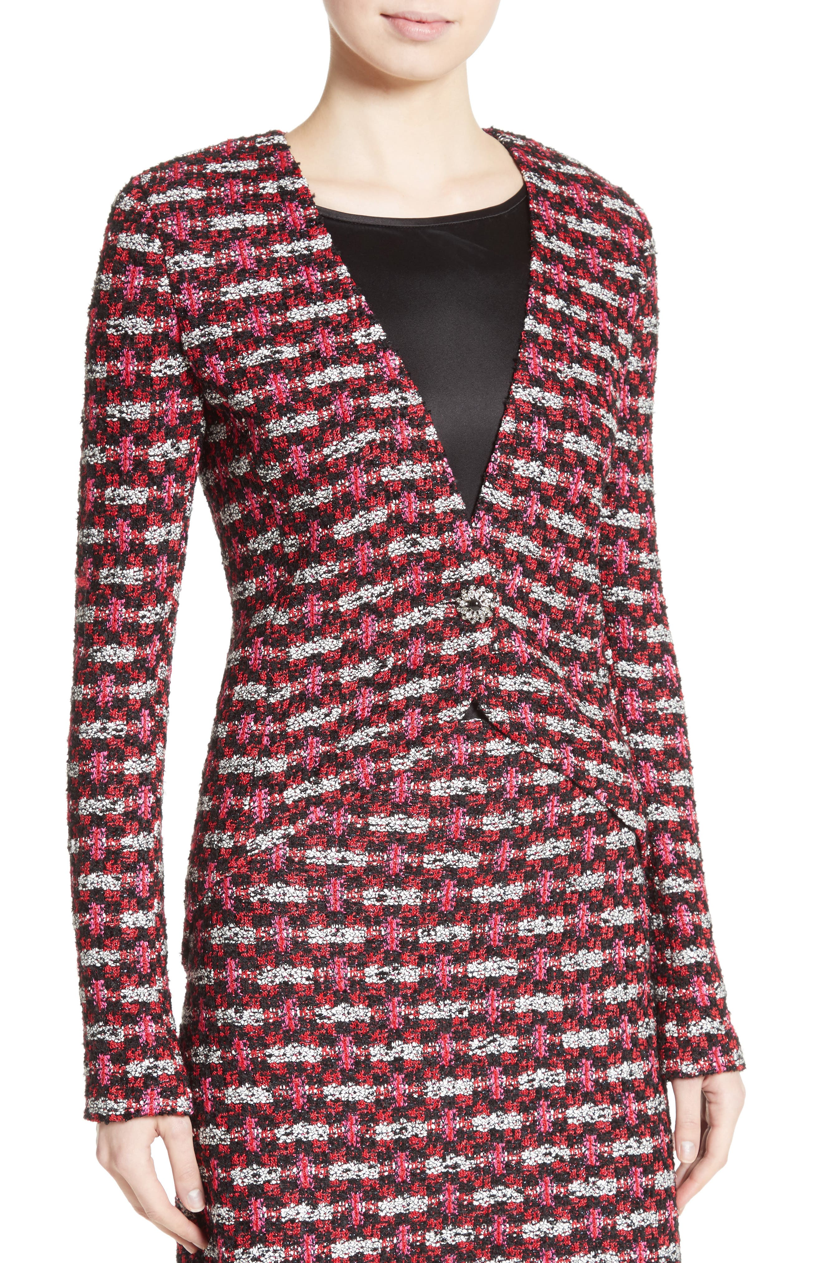 Hiran Tweed Knit Jacket,                             Alternate thumbnail 4, color,                             Scarlet Multi
