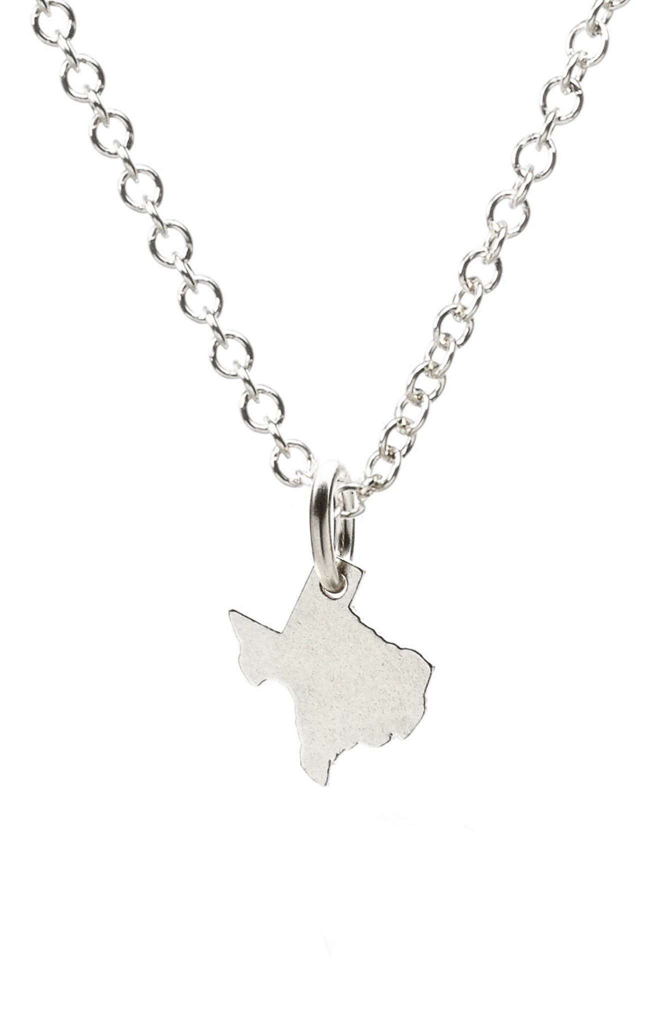 I Heart Texas Pendant Necklace,                             Alternate thumbnail 2, color,                             Silver