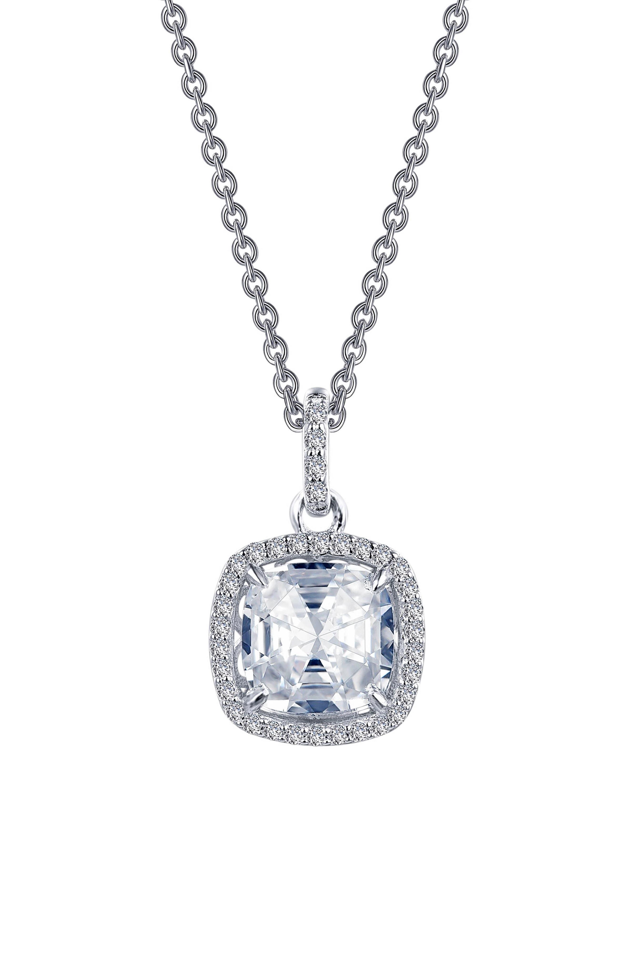 Rose Cut Simulated Diamond Necklace,                         Main,                         color, Silver