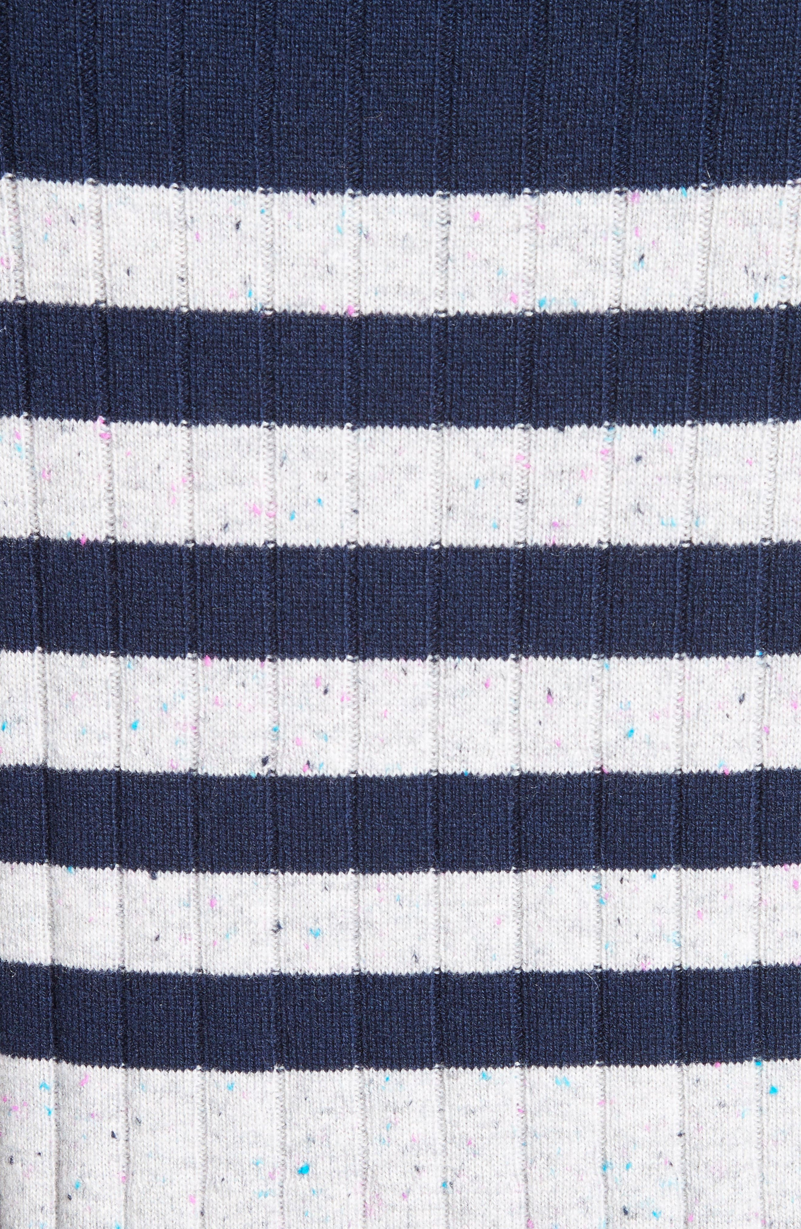 Side Button Stripe Cashmere Sweater,                             Alternate thumbnail 5, color,                             Navy/ Mica